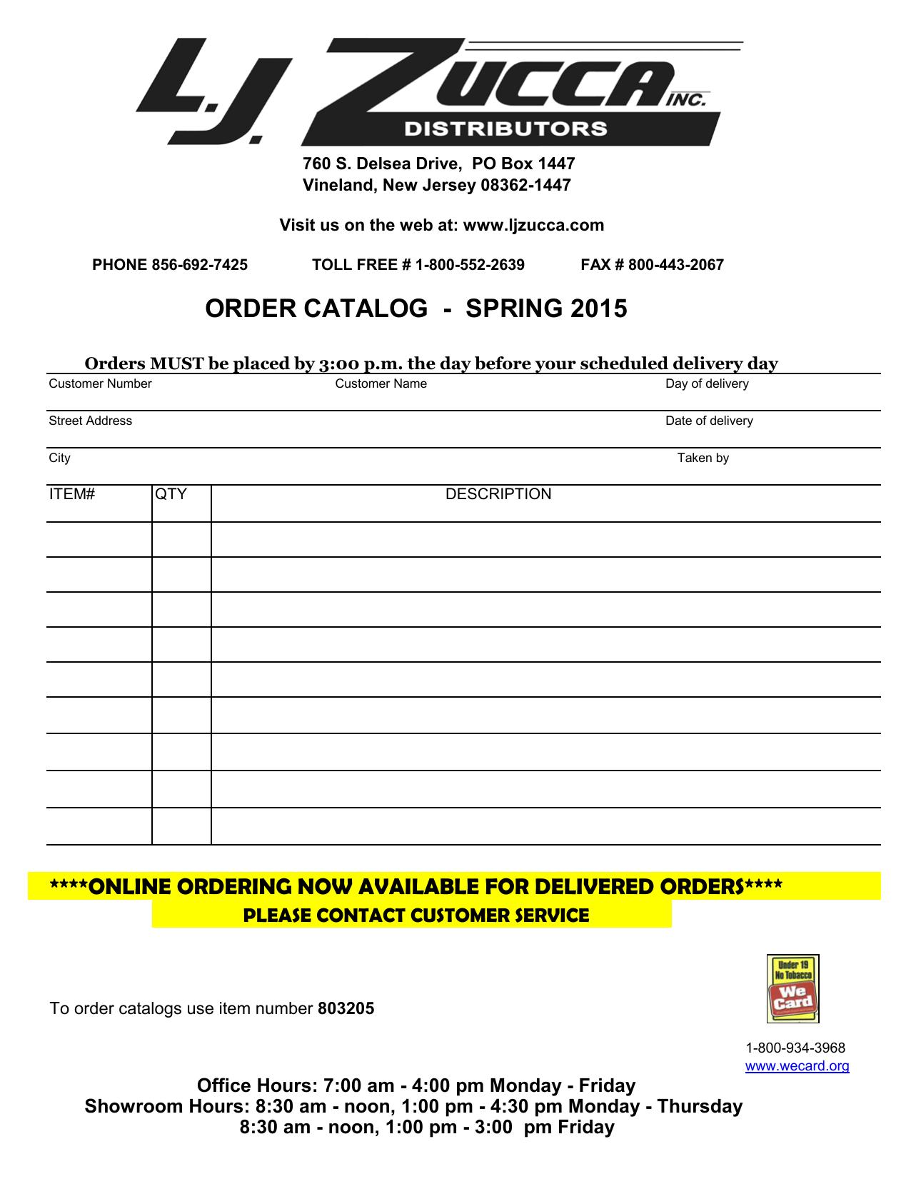 49bee6e1f52 order catalog - spring 2015 | manualzz.com