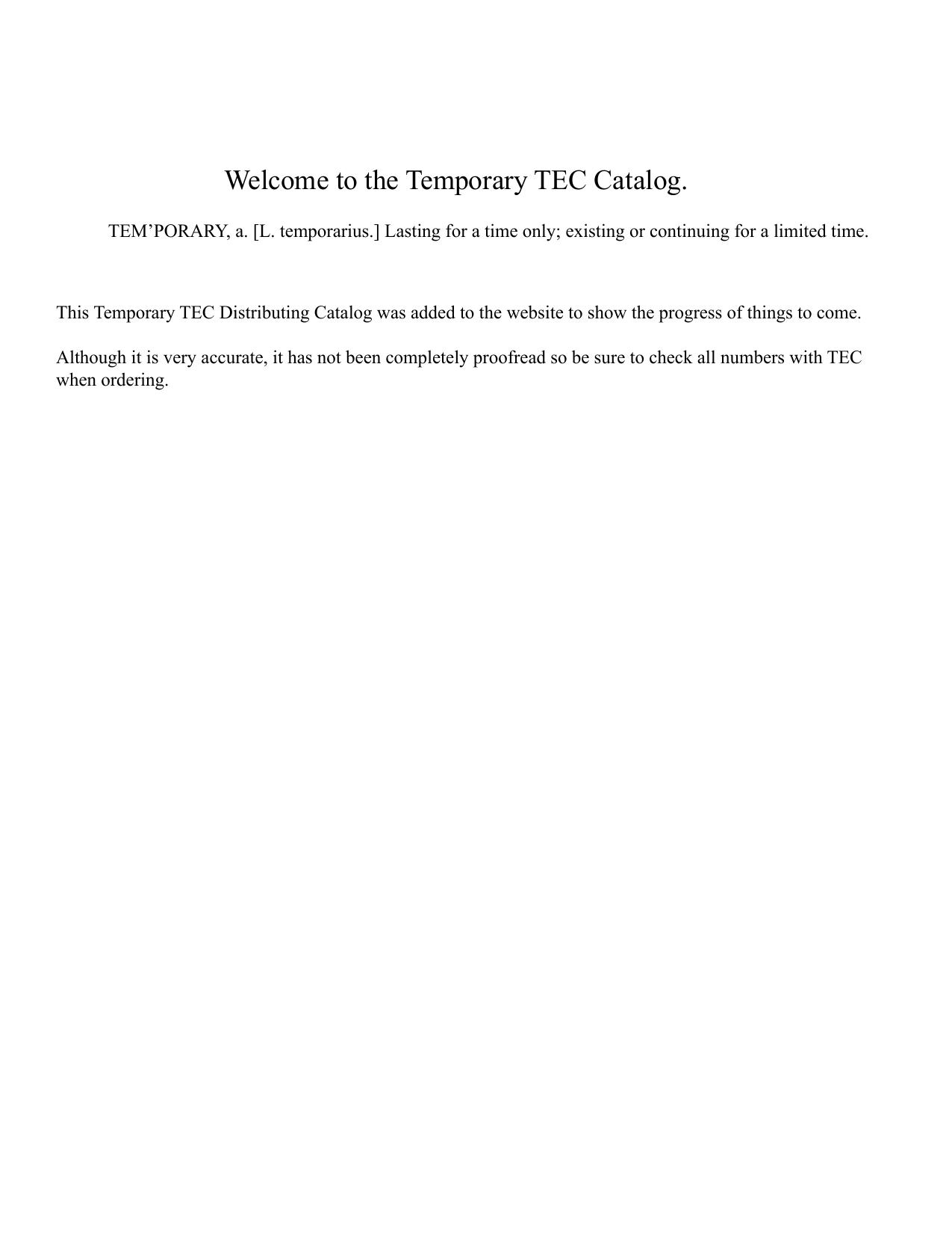 TEC TEMPORARY CATALOG.indd | manualzz.com on