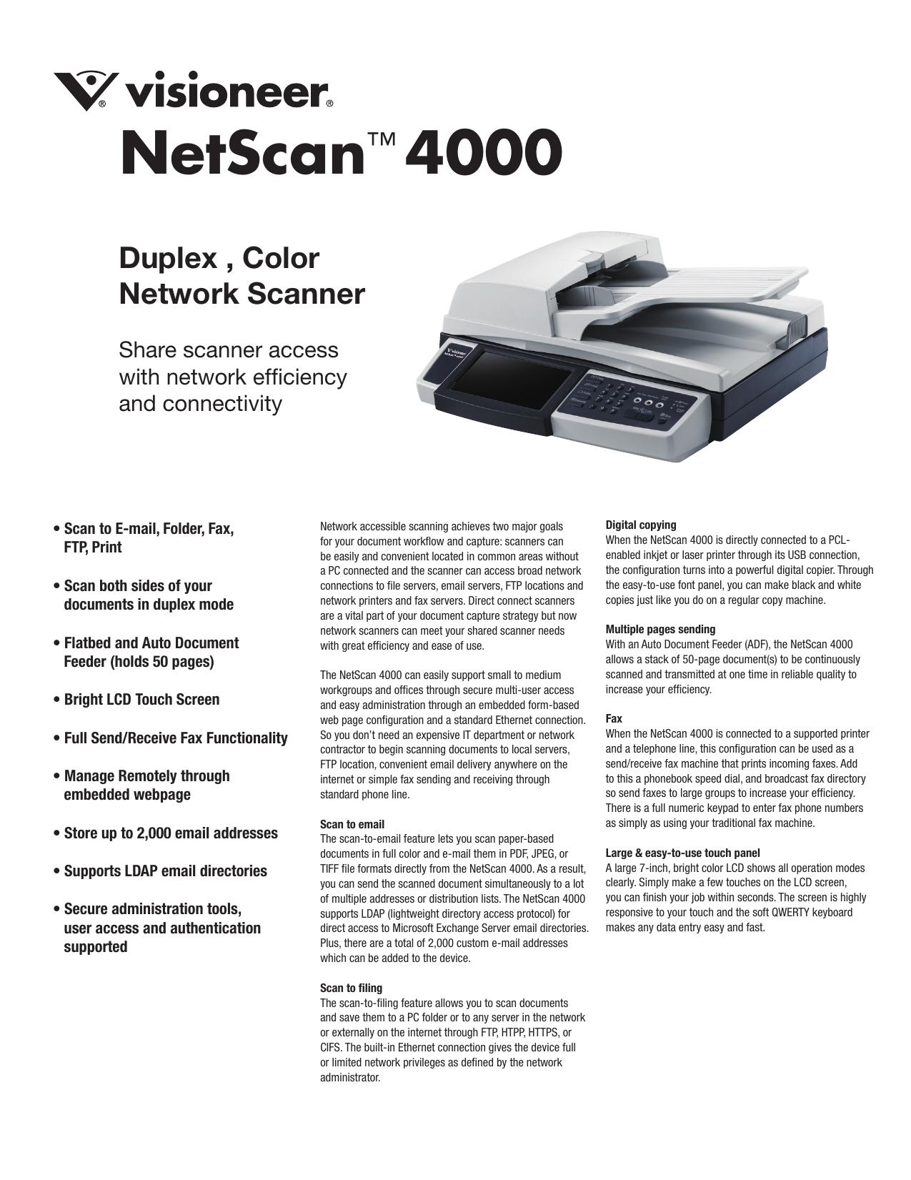 NetScan™ 4000 | manualzz com