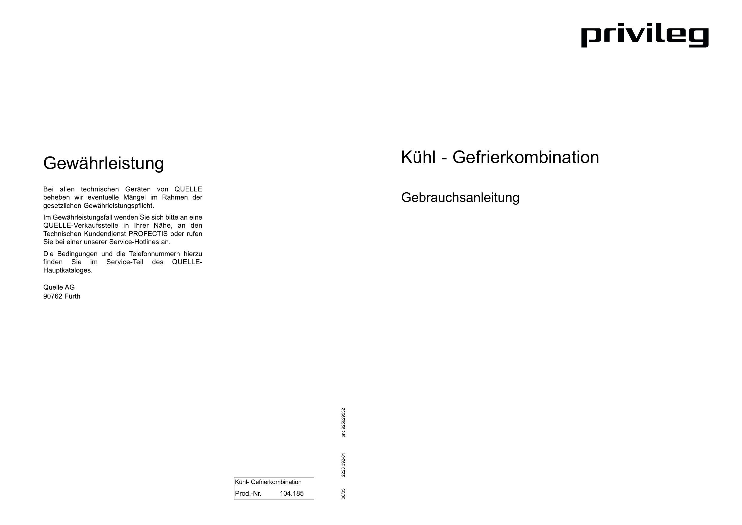 Privileg 104 185 4 40764 Benutzerhandbuch Manualzz Com