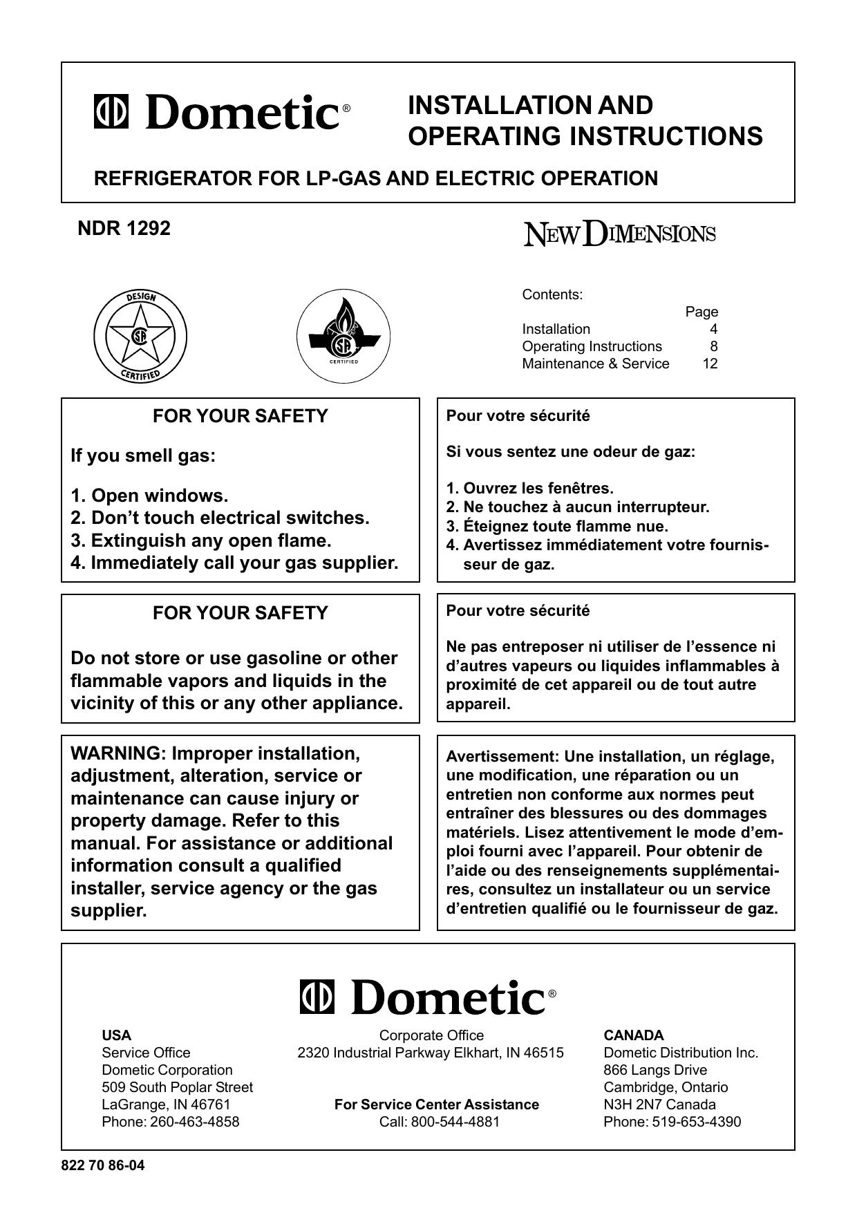 Dometic NDR1292 User Manual   manualzz com