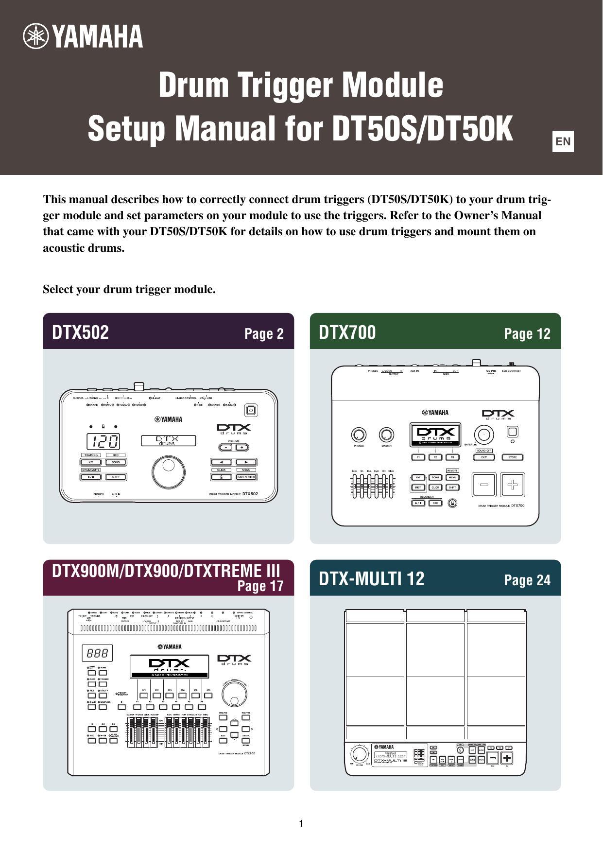 Yamaha Drum Trigger Module Setup Manual for DT50S/DT50K