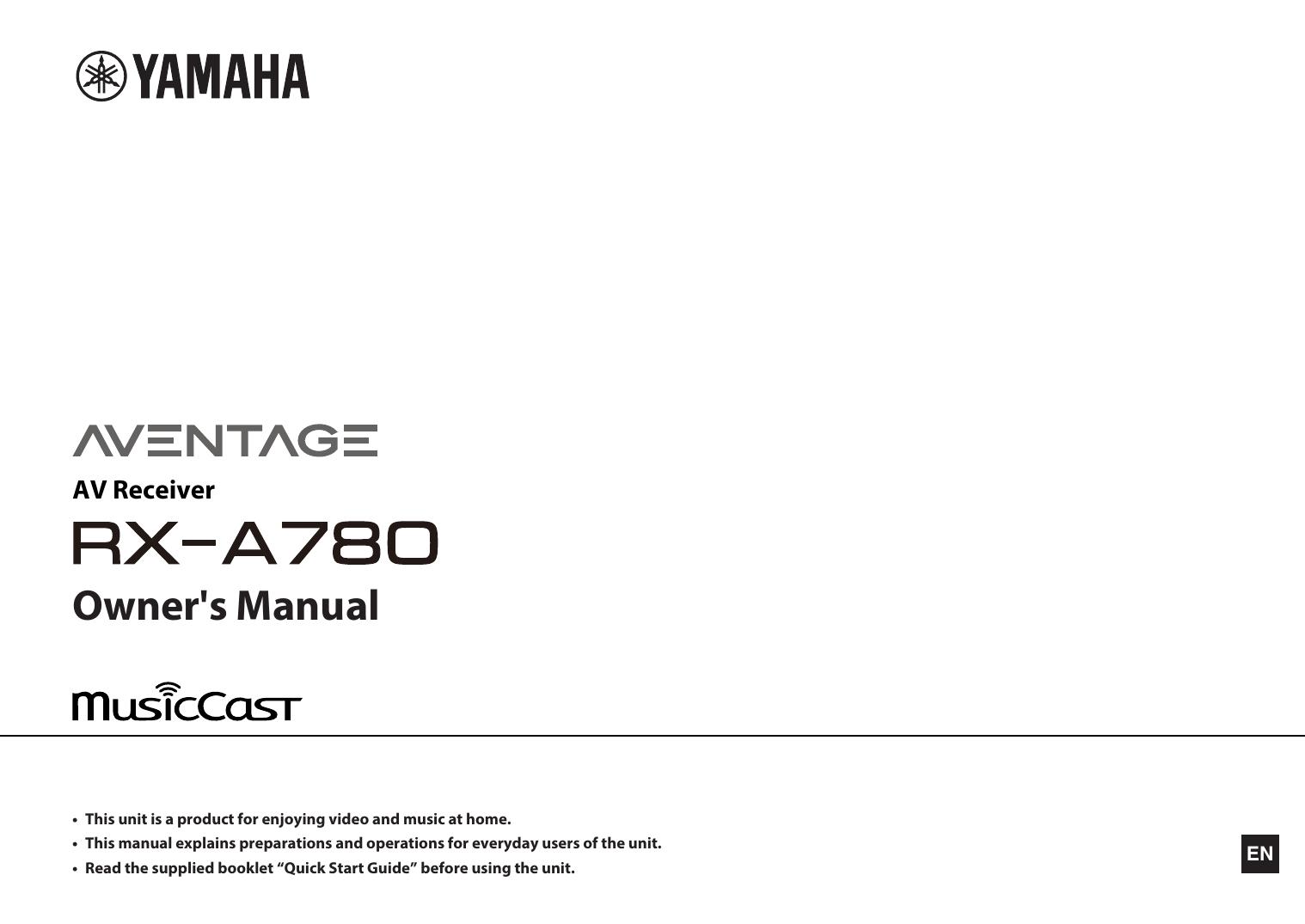 Yamaha RX-A780 Owner's Manual   manualzz com