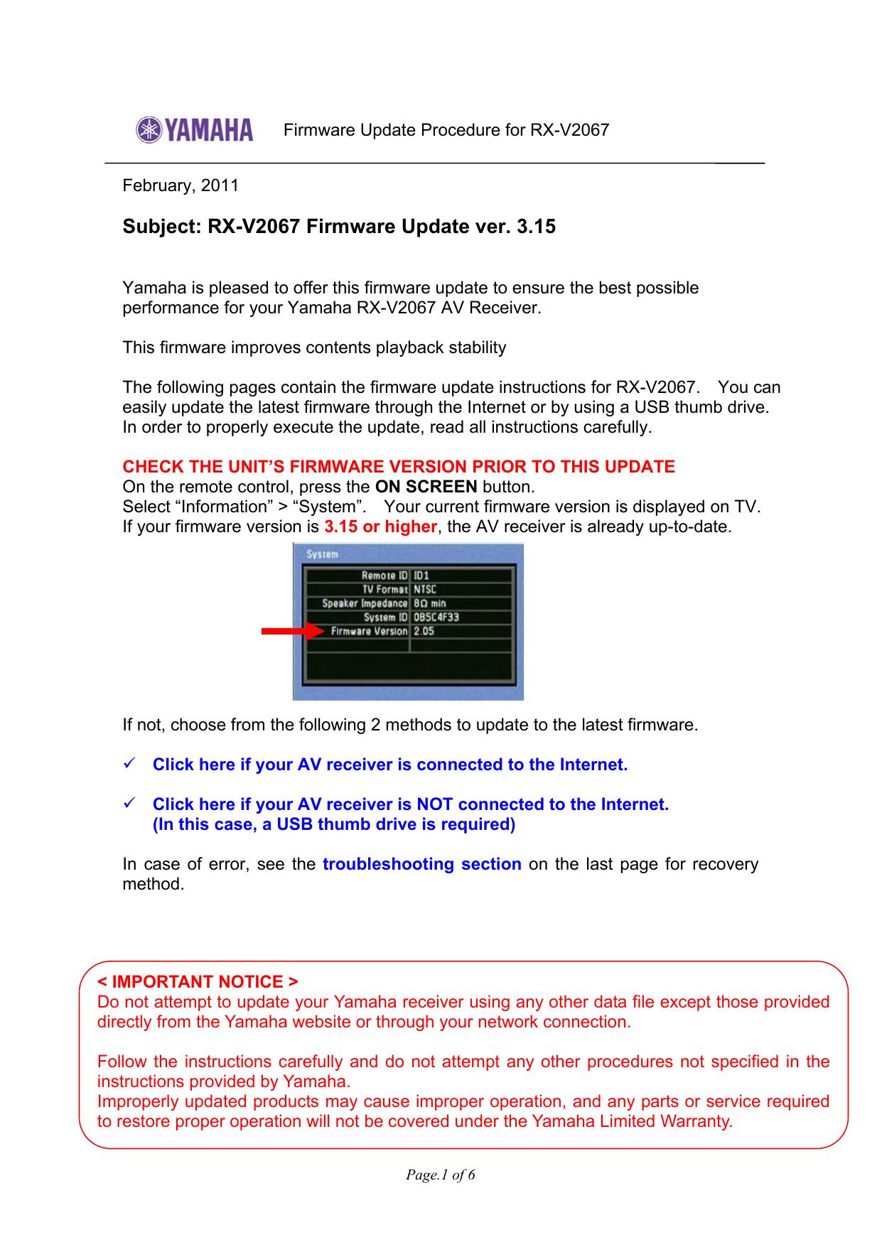 Yamaha RX-V2067 Firmware Update ver  3 15