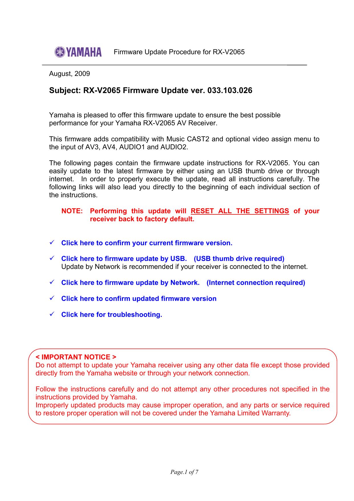 Yamaha RX-V2065 FIRMWARE UPDATE VERSION 033 103 026 (USA