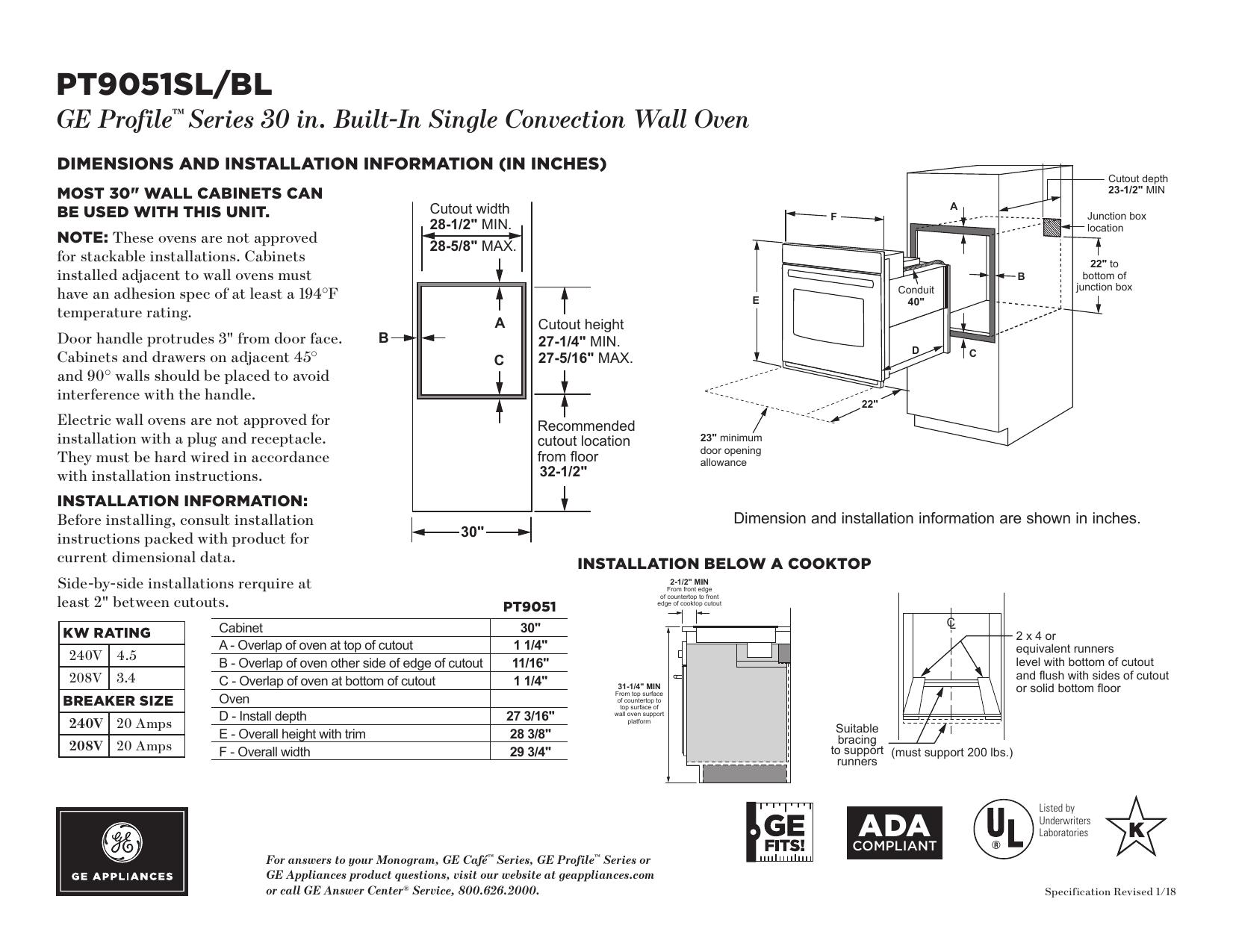 GE Profile PT9051SLSS Quick Specs | manualzz.com on