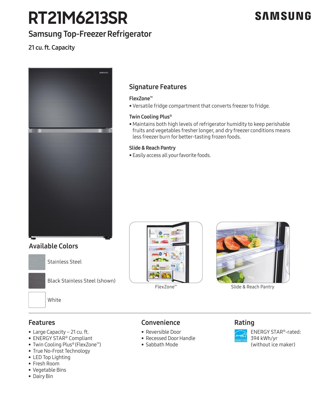 Samsung RT21M6213WW Spec Sheet | manualzz com
