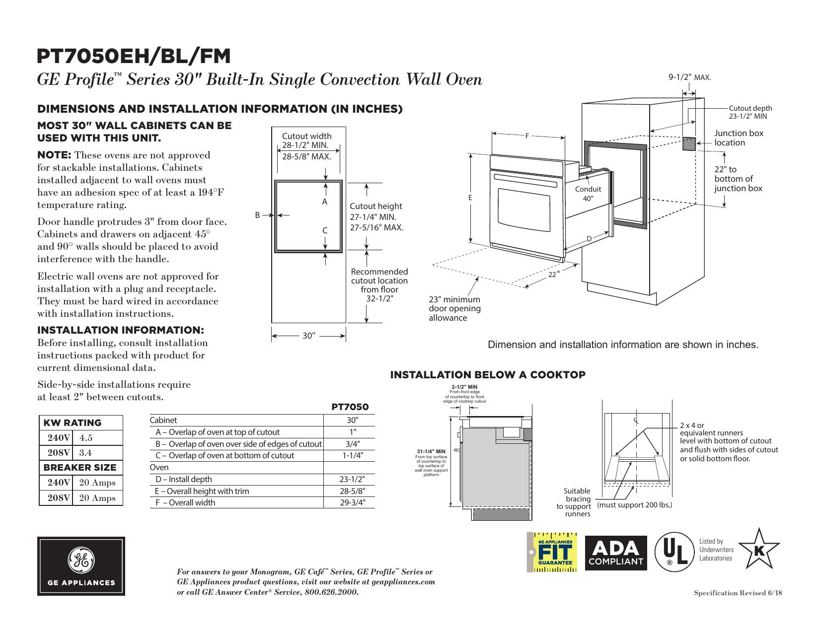 GE Profile PT7050FMDS Spec Sheet | manualzz.com on