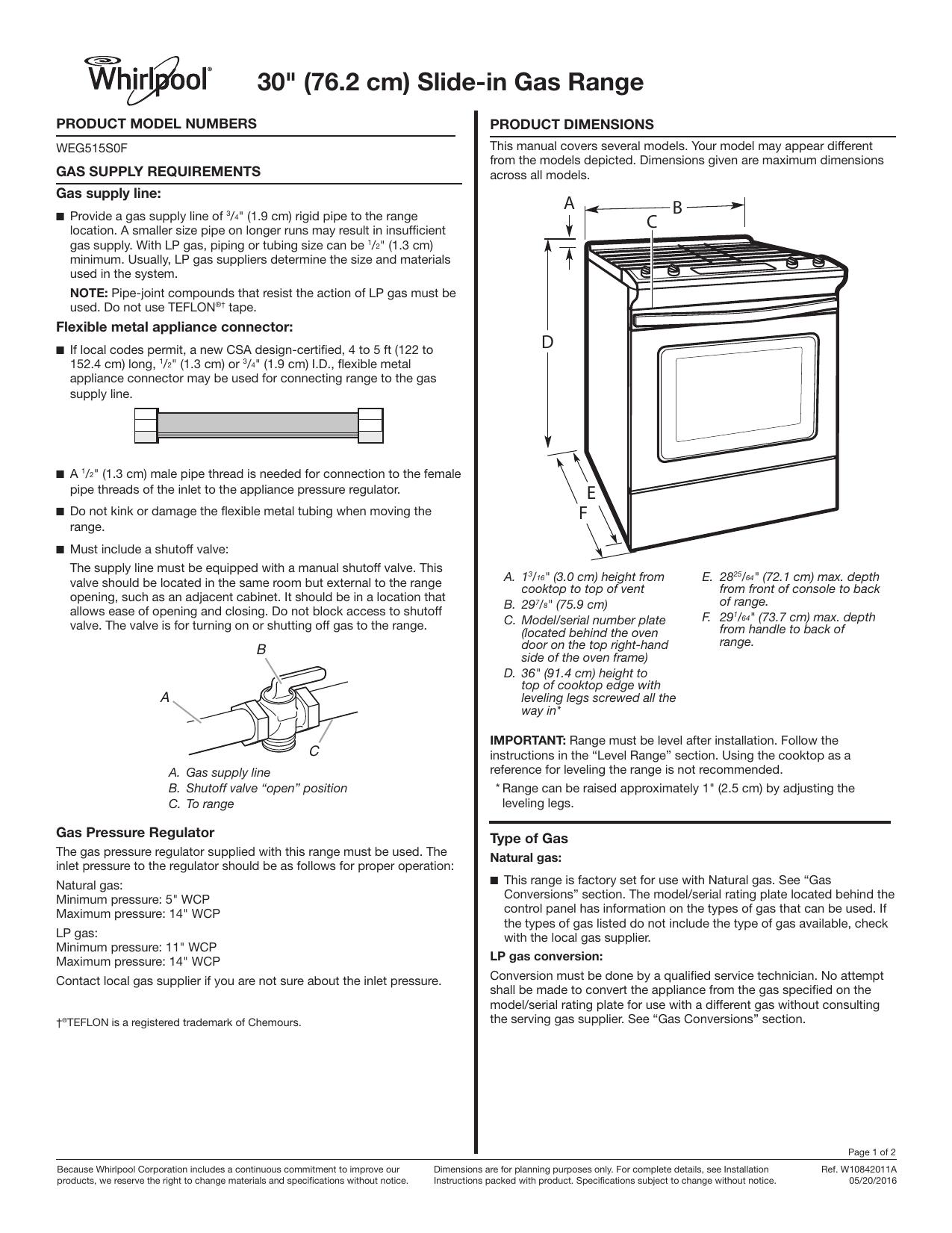 Whirlpool WEG515S0FS Dimension Guide   manualzz com