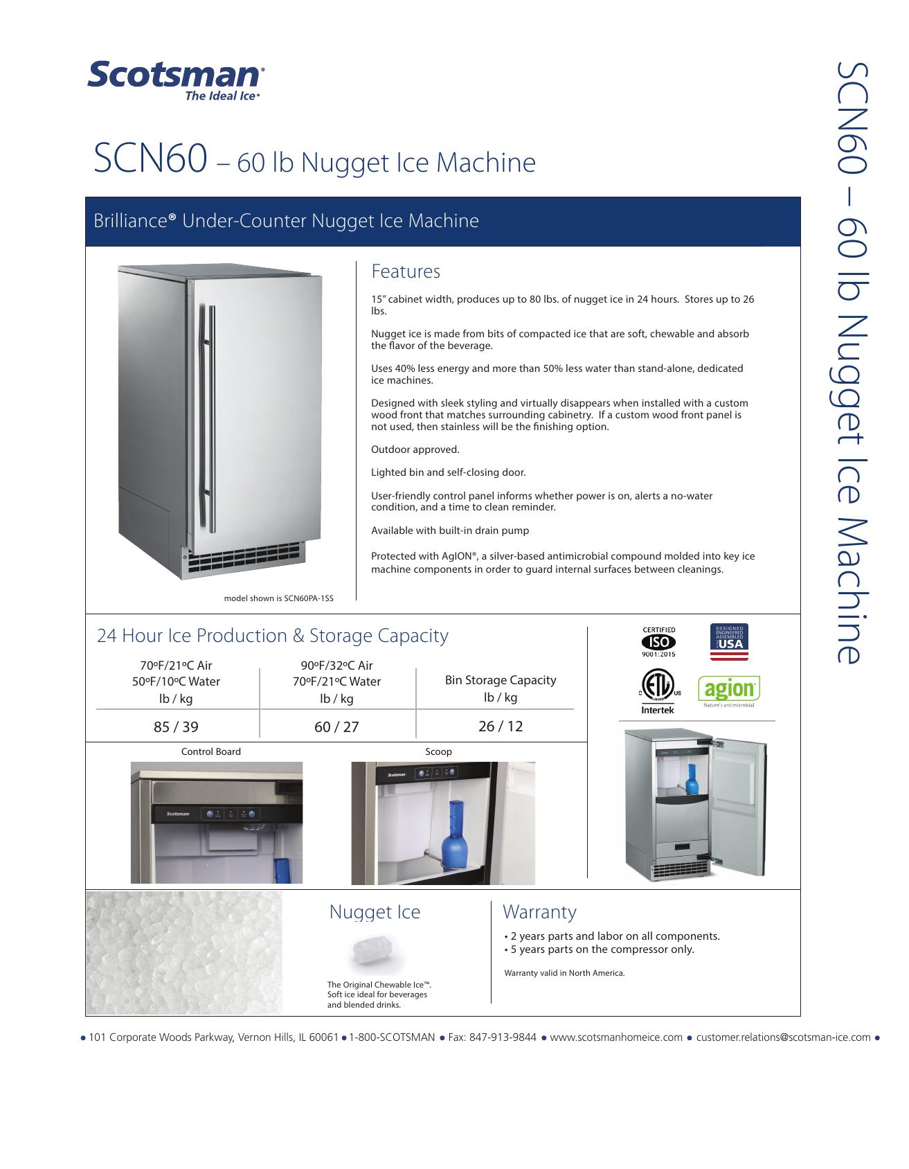 Scotsman Scn60pa1ss Specifications Sheet Manualzz