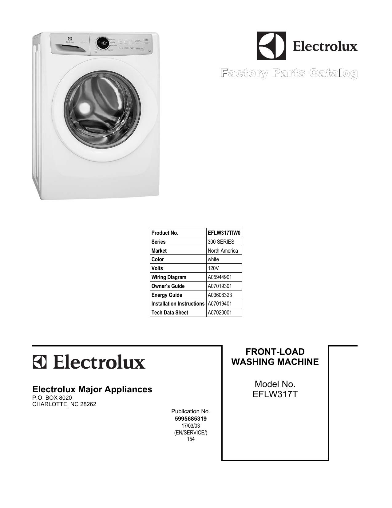 Electrolux EFLW317TIW Parts Manual | manualzz.com on