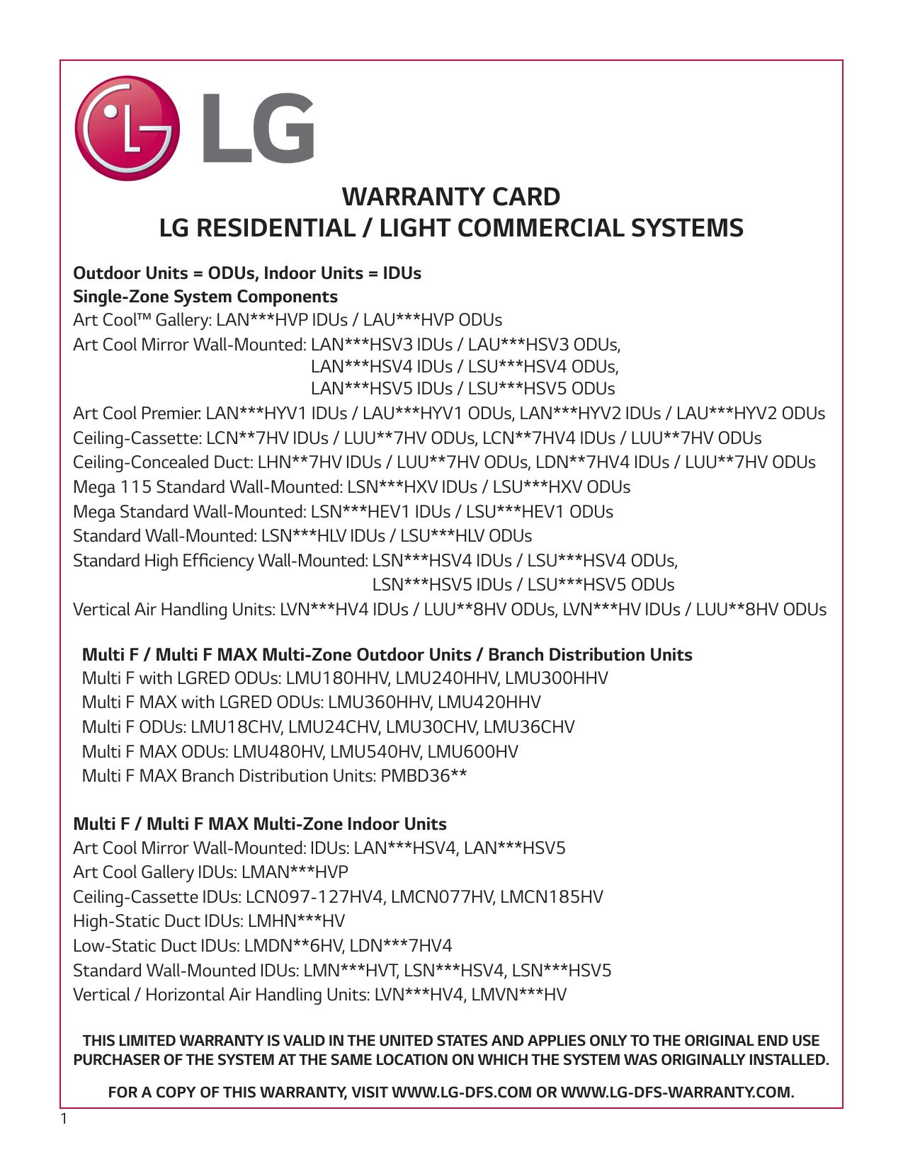 Lg Lsu090hsv5 Warranty Manualzz Com