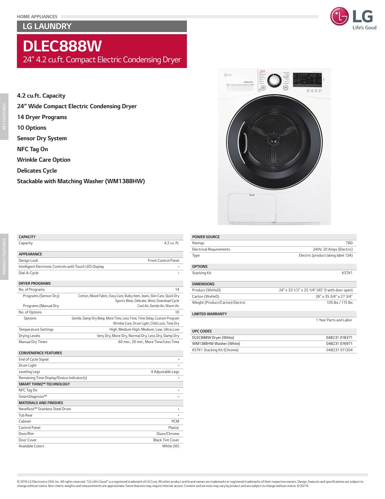 LG DLEC888W Specifications Sheet | manualzz com