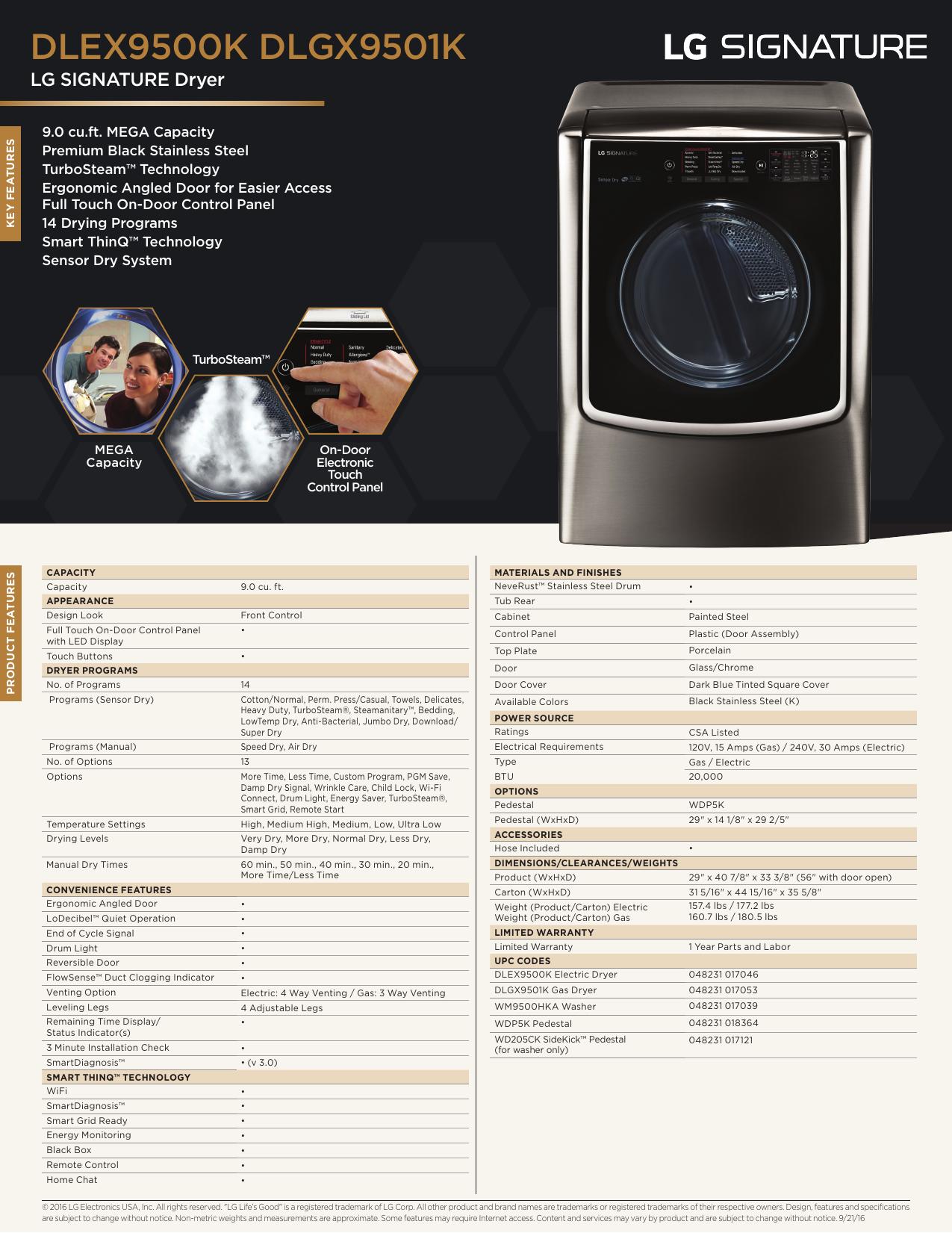 LG Signature DLEX9500K DLEX9500 DLGX9501 Spec Sheet   manualzz com