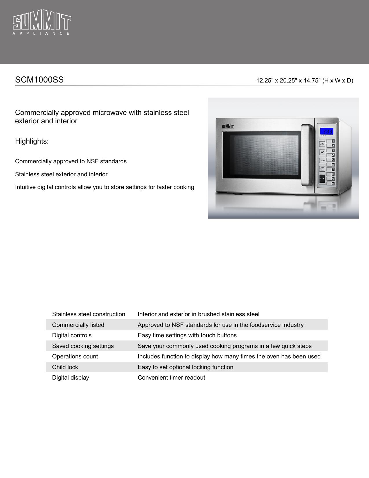 Summit SCM1000SS User manual | Manualzz