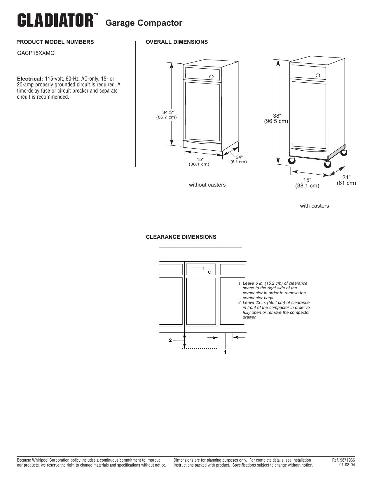 Whirlpool GACP15XXMG GACP15XXMG_Dimension Guide_EN.pdf | Manualzz