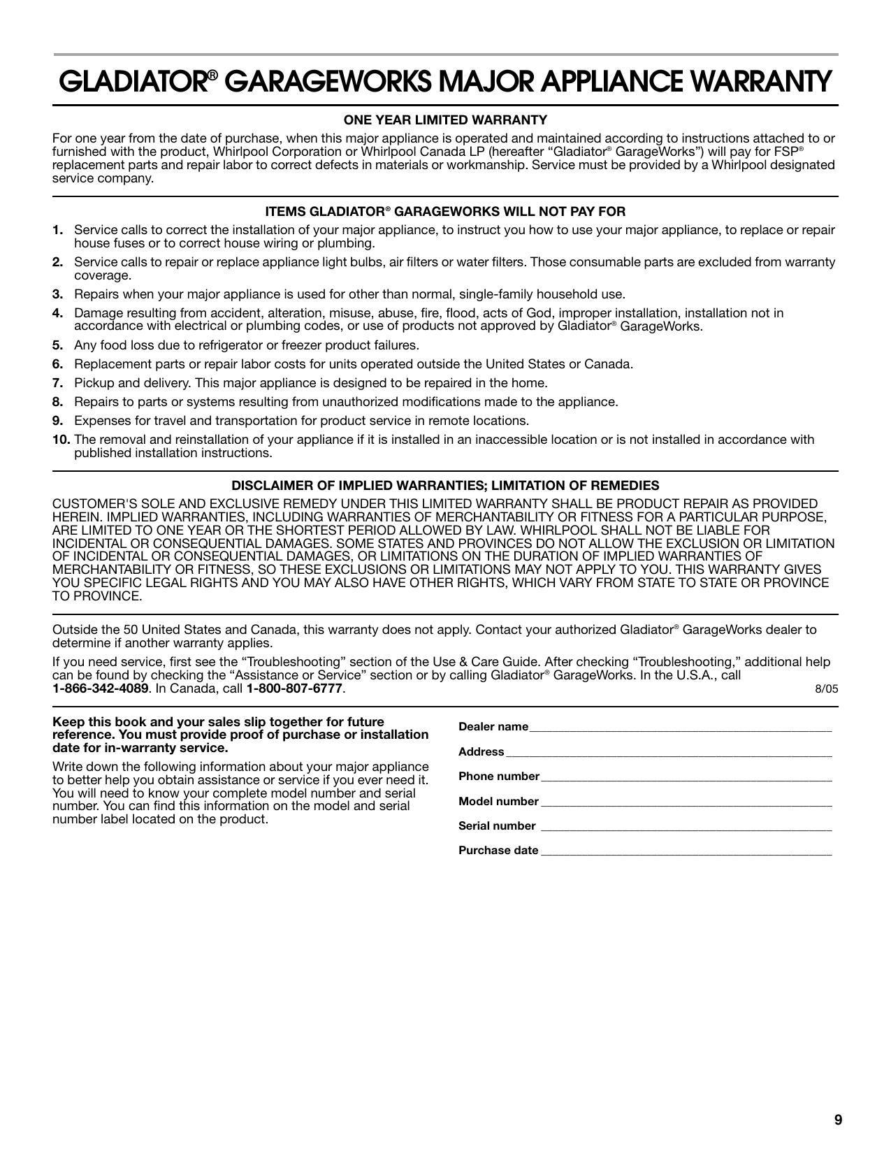 Whirlpool GACP15XXMG GACP15XXMG_Warranty_EN.pdf | Manualzz