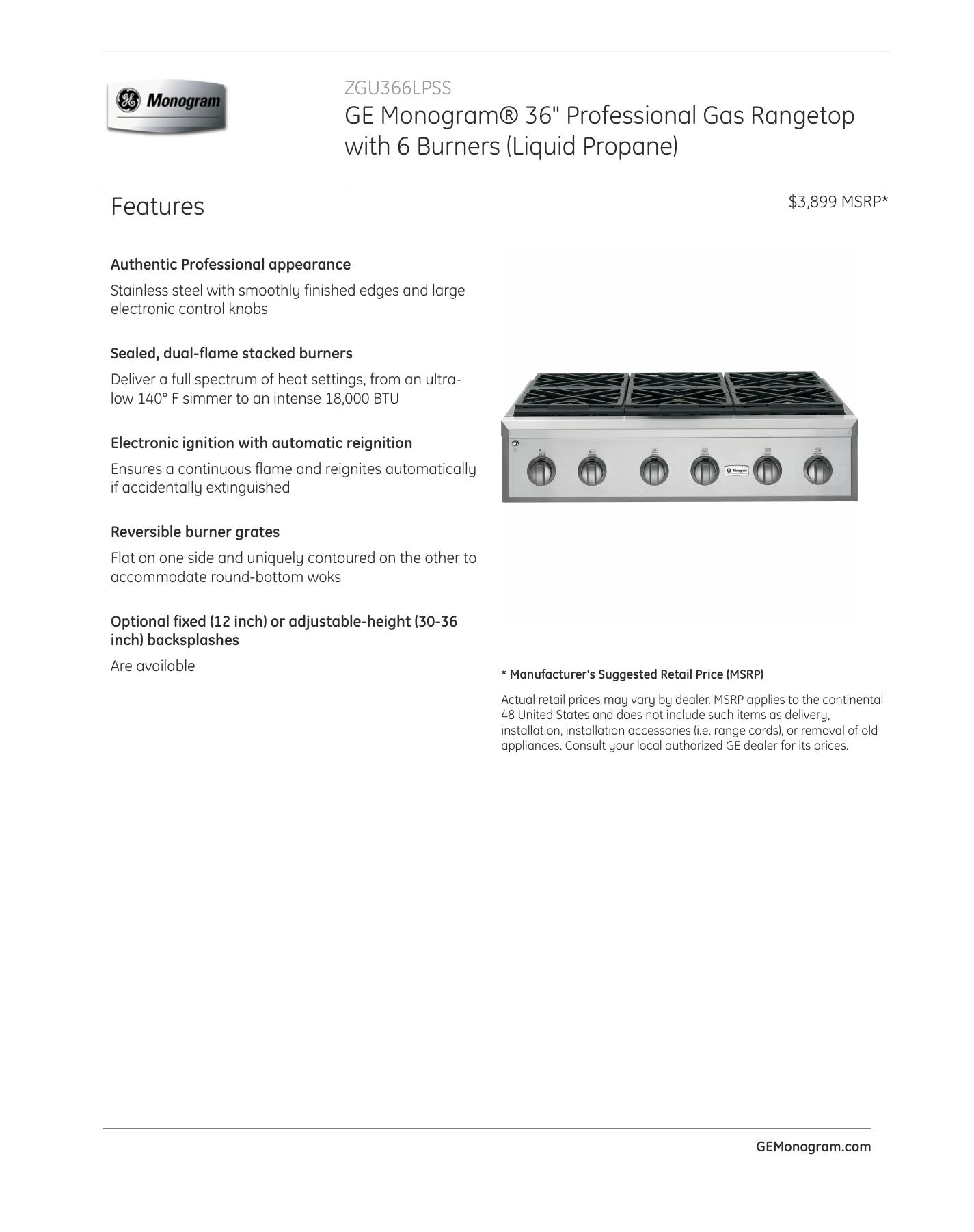GE Monogram ZGU366NPSS PRINTER FRIENDLY SPECIFICATIONS.PDF   Manualzz