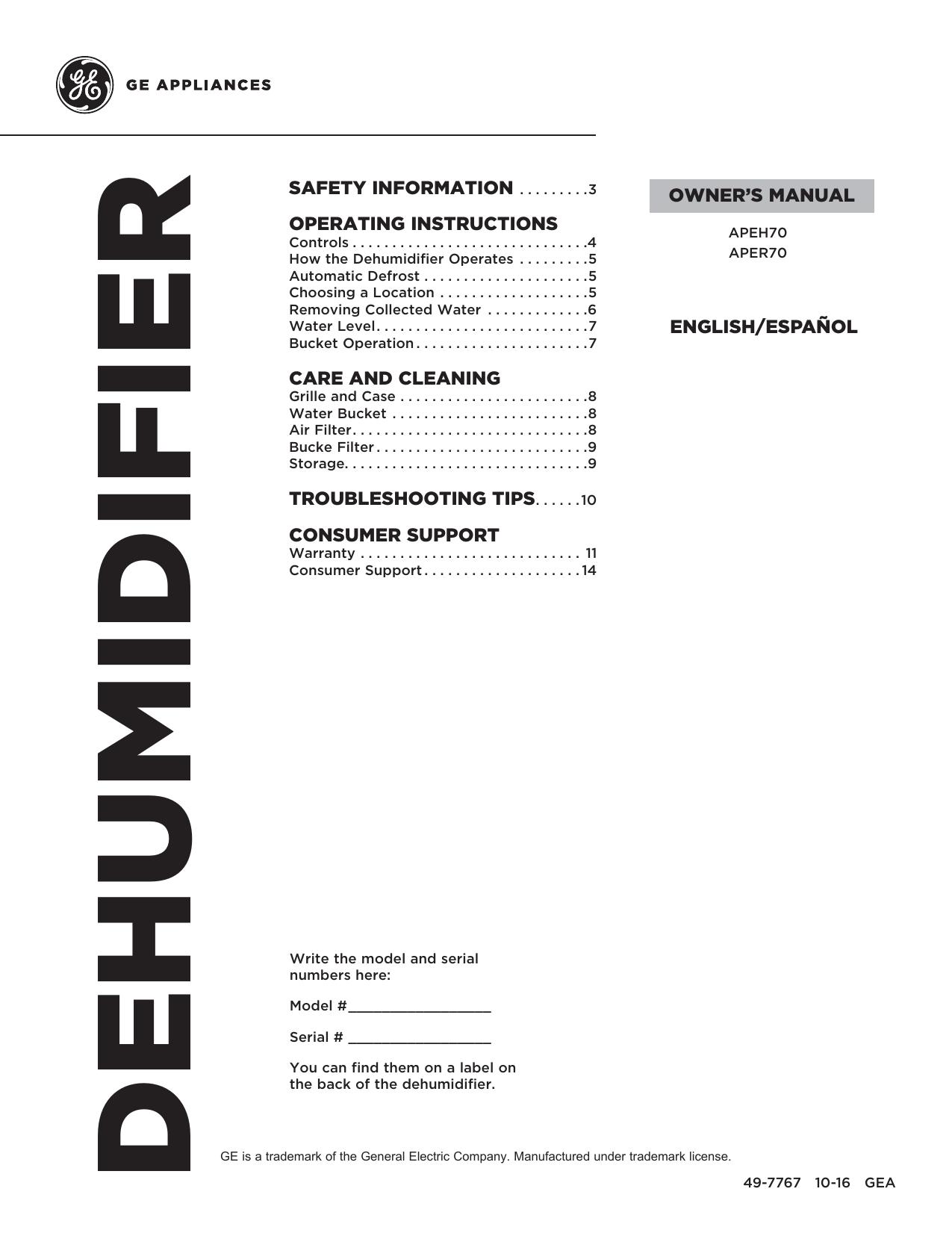 GE APER70LW Owner's Manual | manualzz.com on