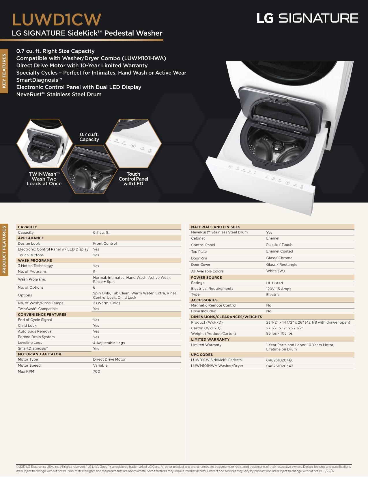 LG Signature LUWD1CW Spec Sheet | manualzz com