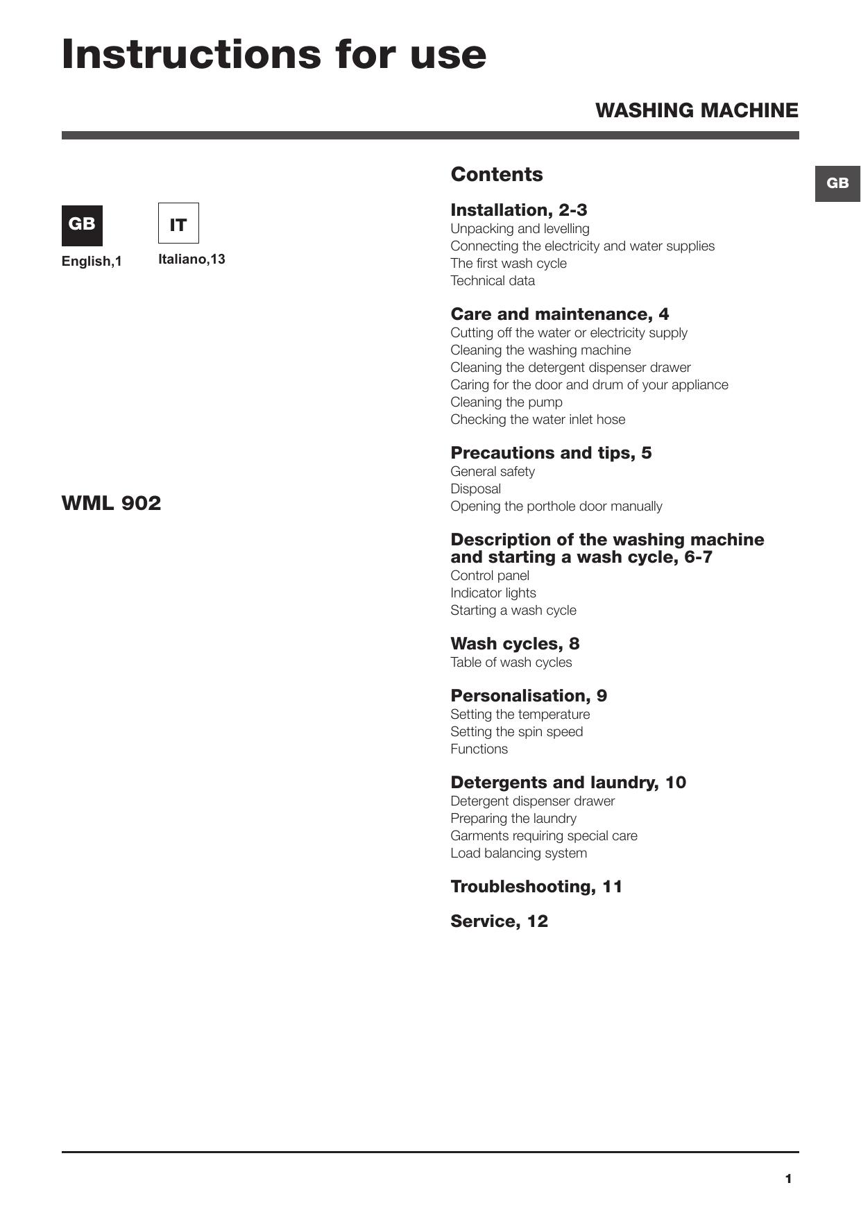 Hotpoint Wml 902 Eu C Manuale Utente Manualzz Com