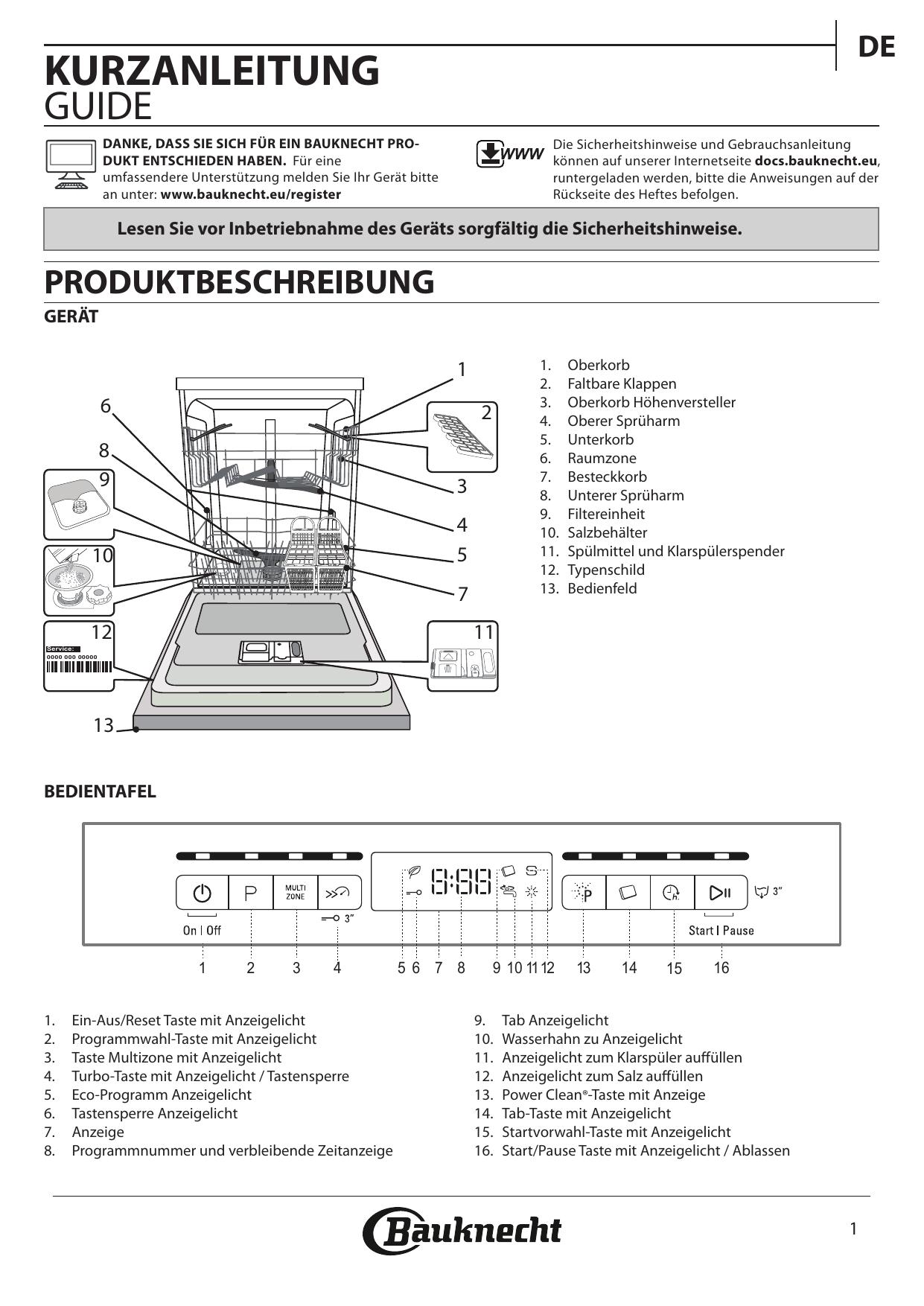 Bauknecht BBO 3O239 P X Benutzerhandbuch |