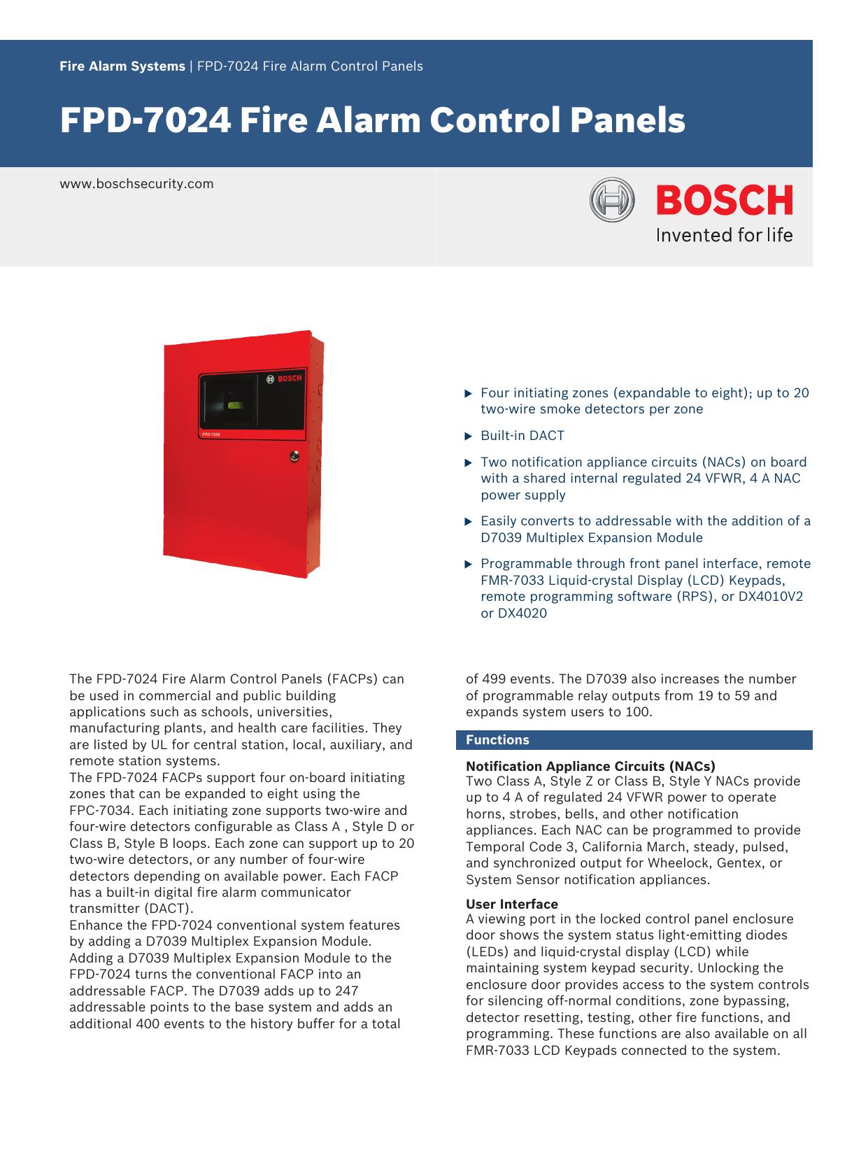 Bosch Appliances Smoke Alarm Fpd 7024 User Manual Manualzz