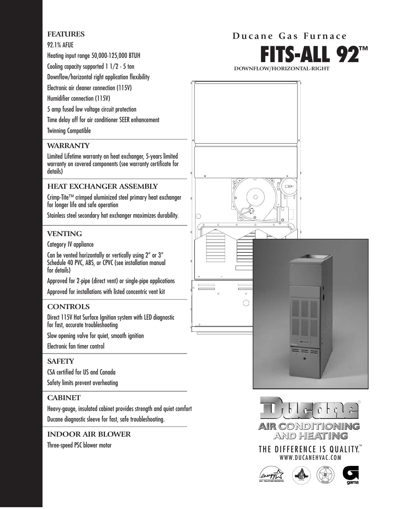 Ducane Furnace Fits All 92 User Manual Manualzz