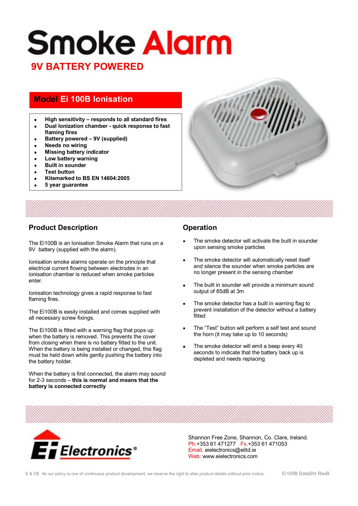 EI Electronics Smoke Alarm Ei100s