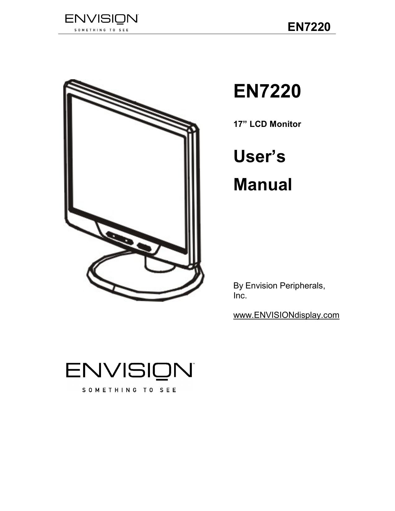 Envision Peripherals Computer Monitor EN7220 User manual