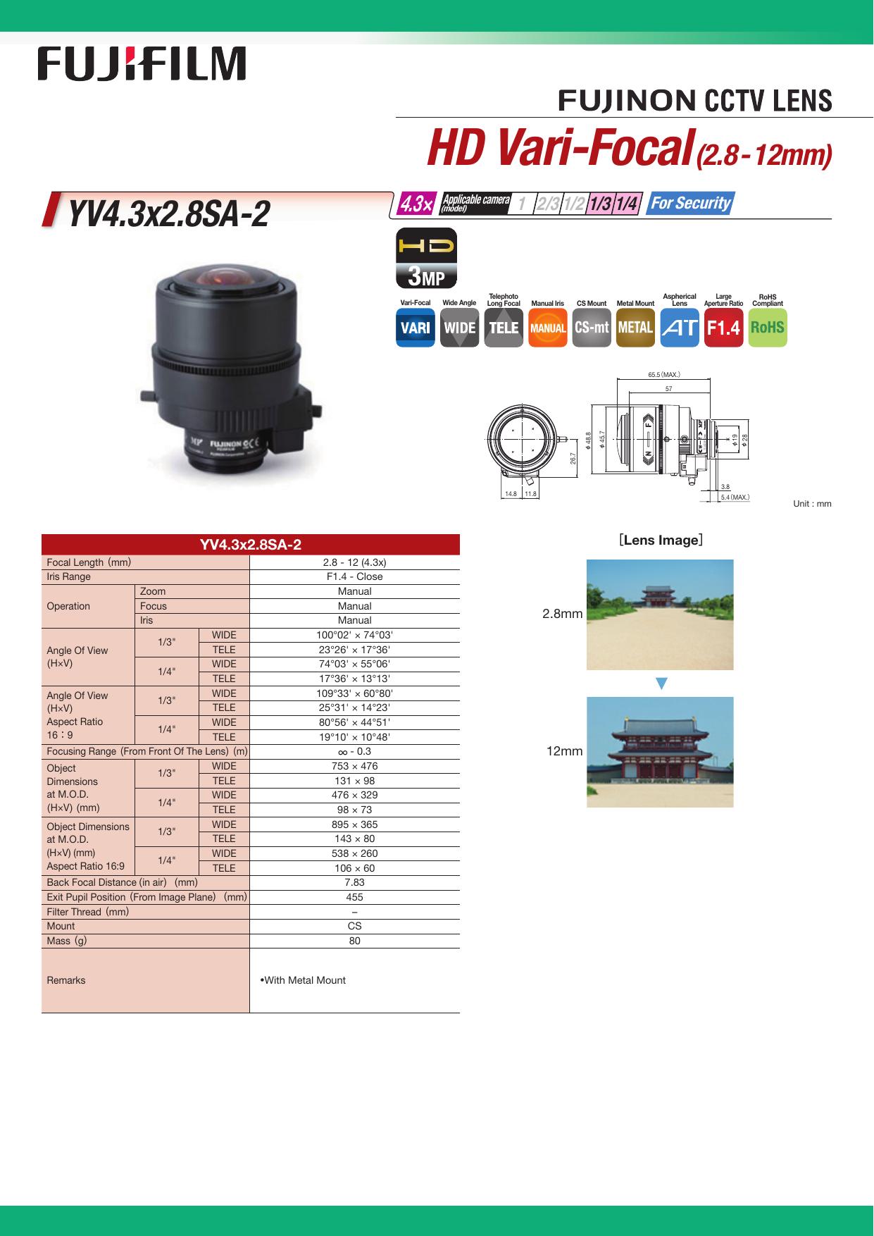 FujiFilm Camera Lens YV4 3X2 8SA-2 User manual | manualzz com