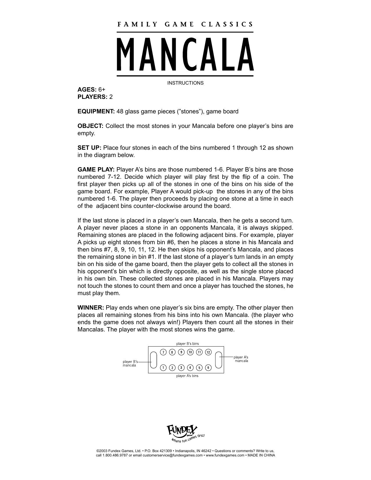 Fundex Games Board Games Mancala User Manual Manualzz