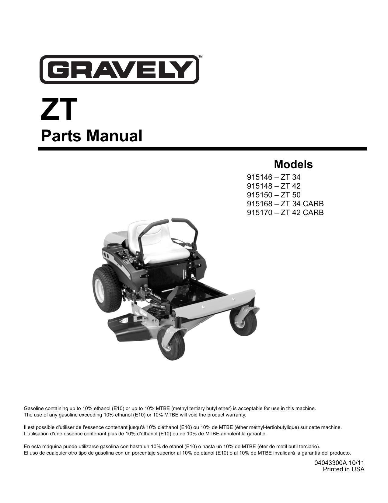 Gravely Lawn Mower 915146 ZT 34 User manual | manualzz com