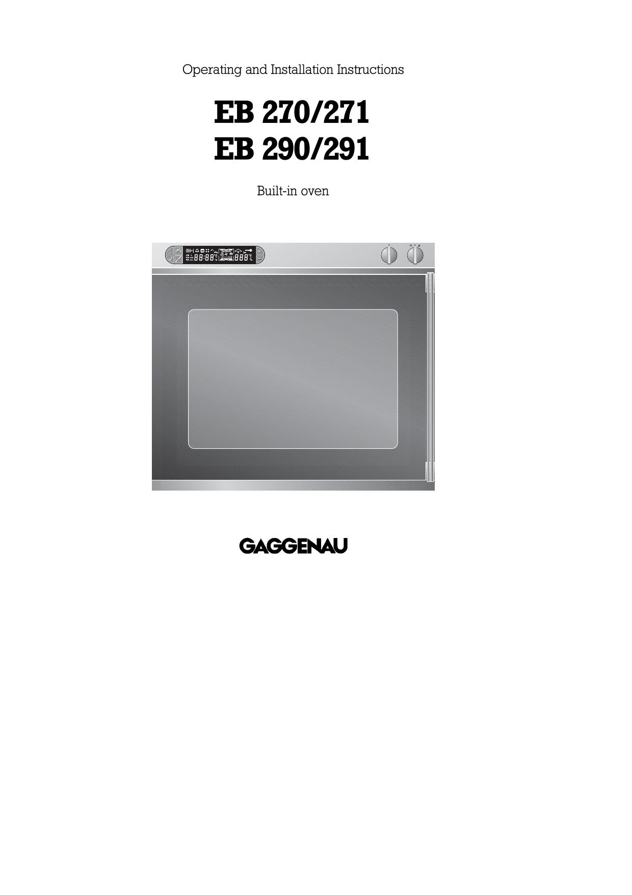Gaggenau Microwave Oven Eb 270 271 User Manual Manualzz