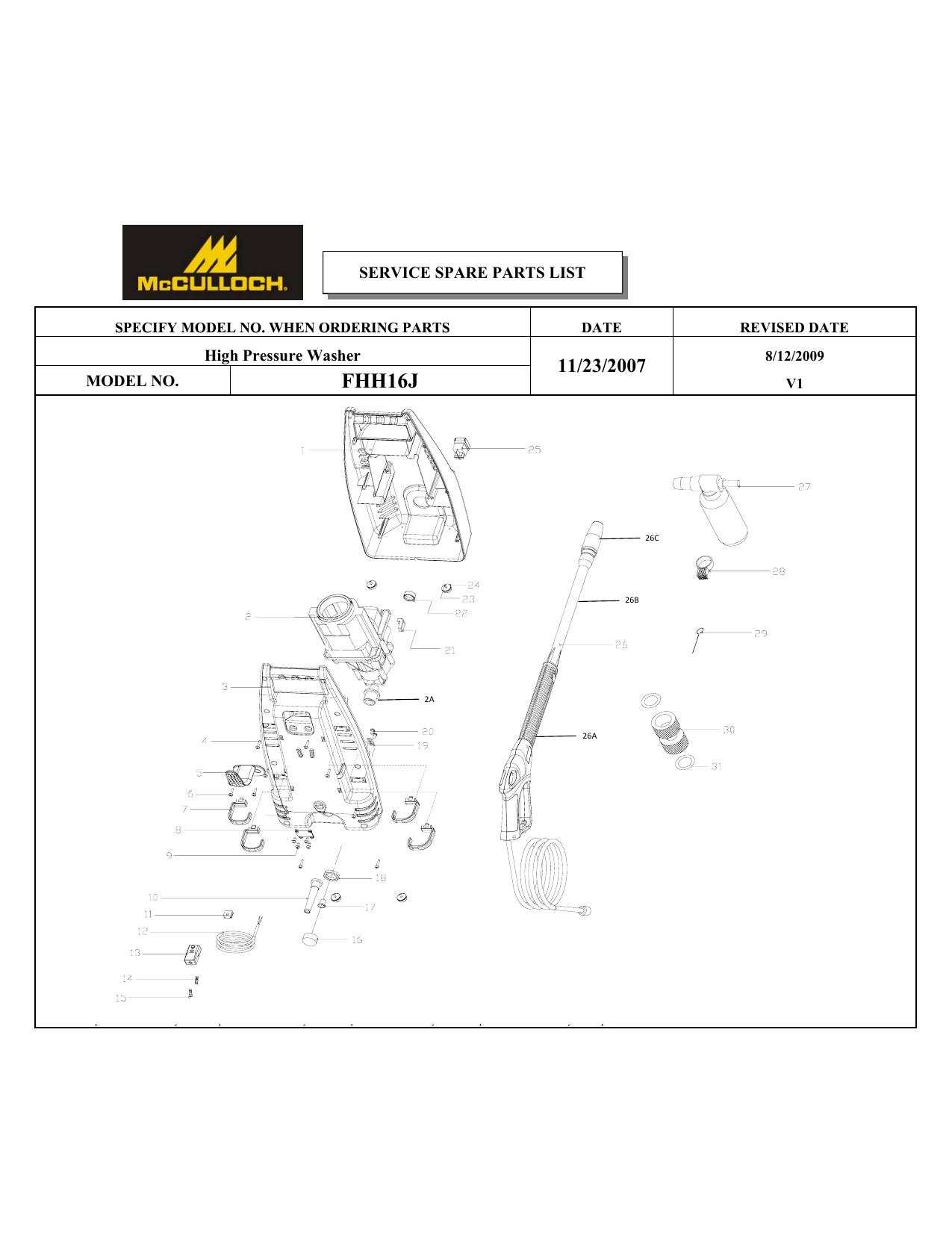 [DIAGRAM_1CA]  McCulloch Pressure Washer FHH16J User manual | Manualzz | Mcculloch 140 Wiring Diagram |  | manualzz