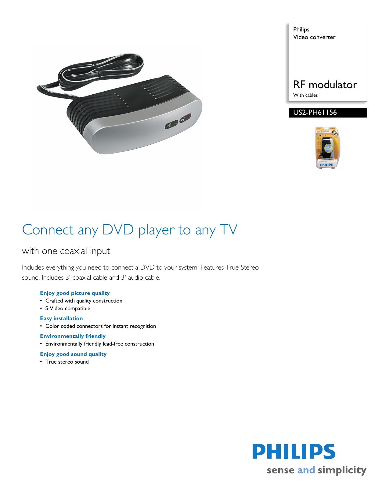 Philips TV Converter Box US2-PH61156 User manual | manualzz com