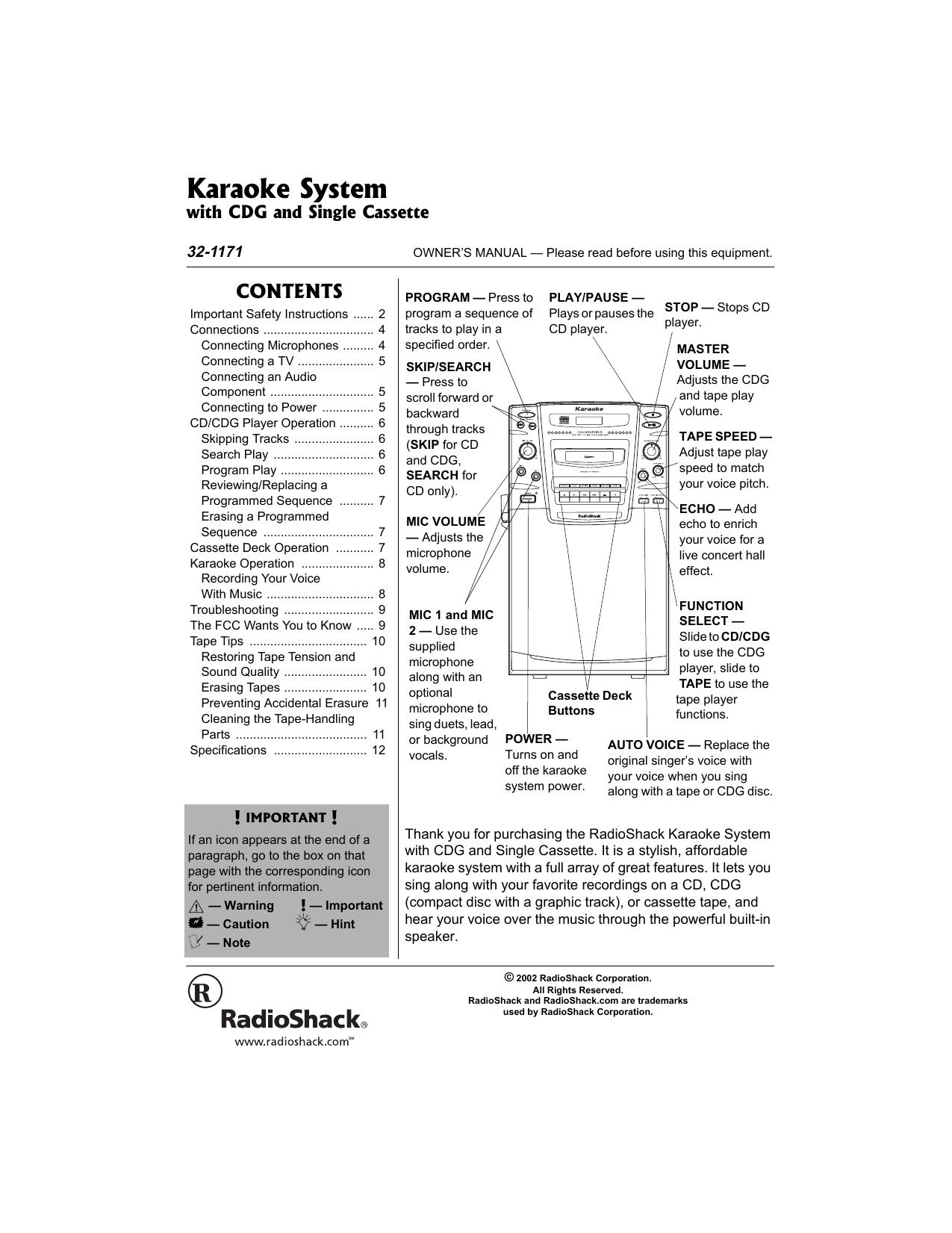 Radio Shack Karaoke Machine 32-1171 User manual | manualzz com