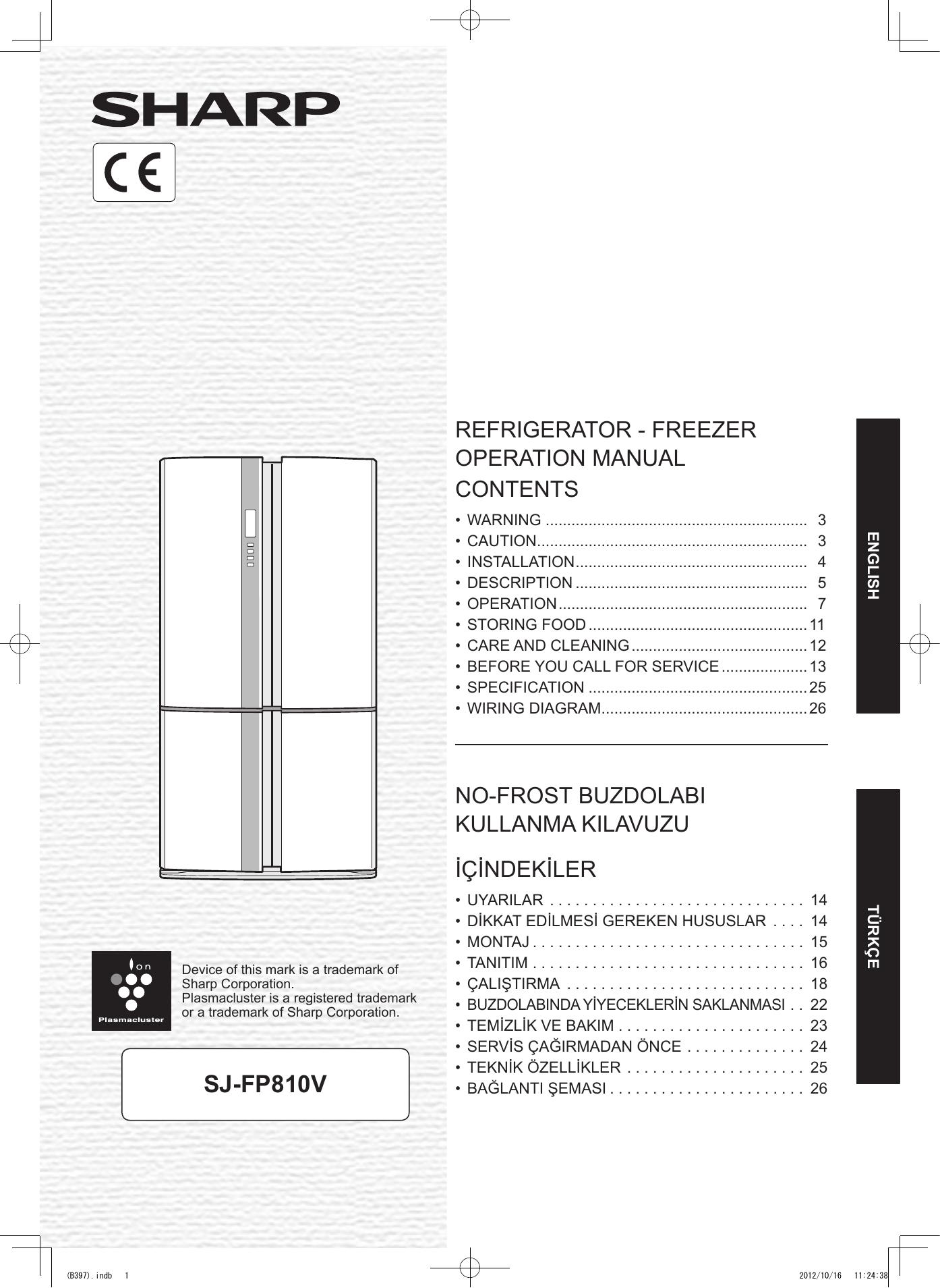 Sharp Refrigerator SJ-FP810V User manual   manualzz com