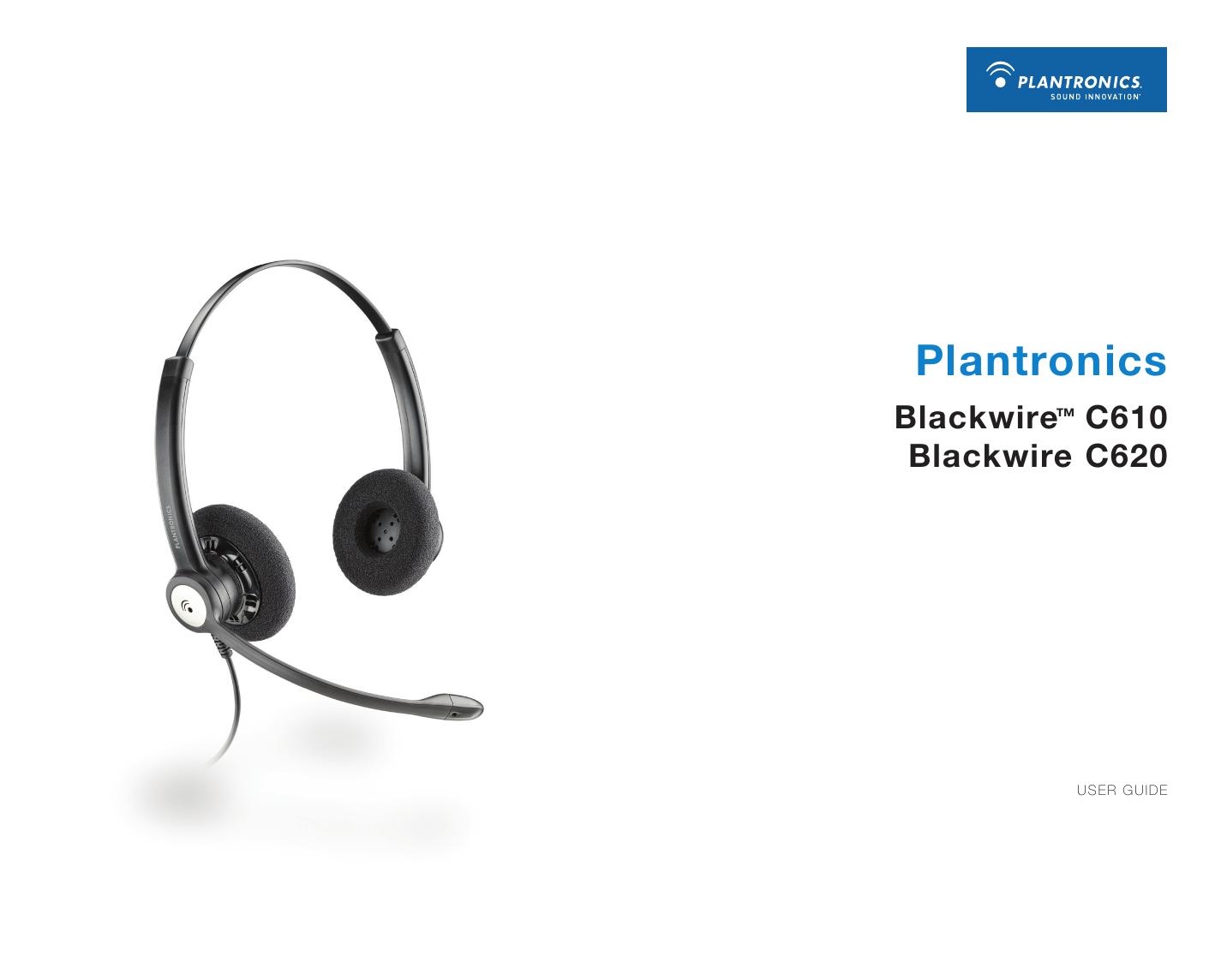 Plantronics Corded Headset Blackwire C610 User Manual Manualzz