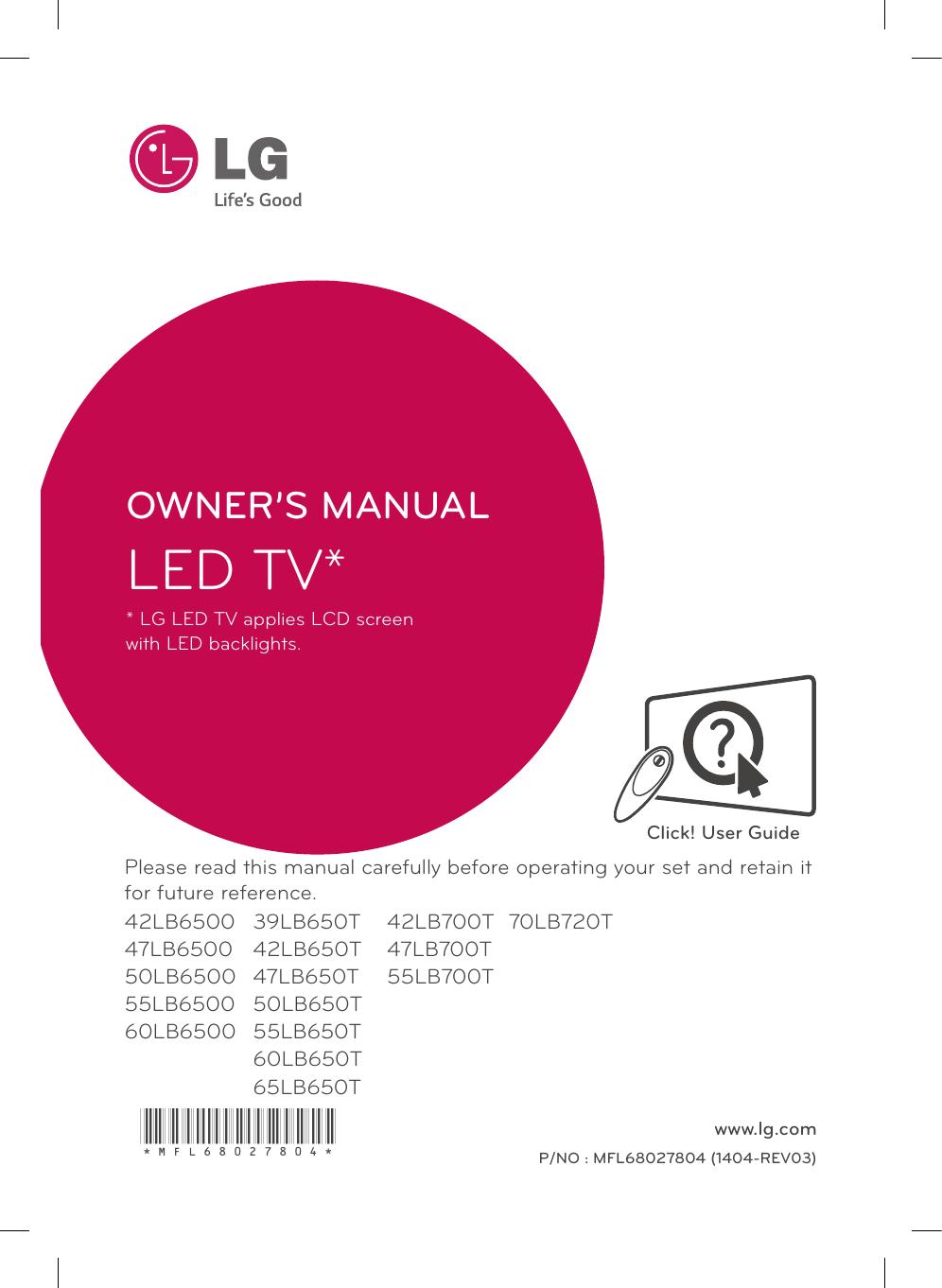 Lg 42lb650t 55lb650t 70lb720t 55lb700t 65lb650t 50lb650t 60lb650t Owner S Manual Manualzz