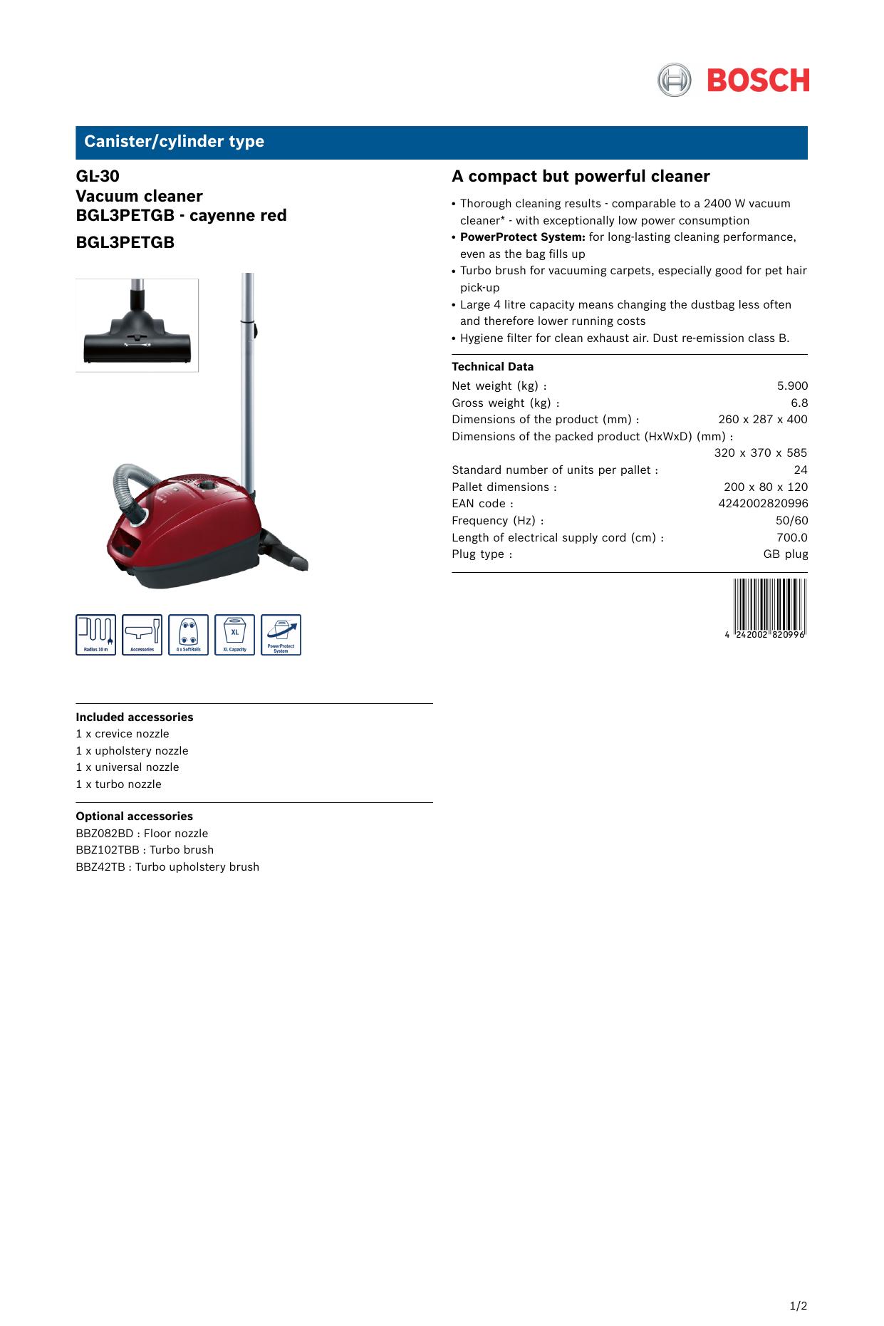 Bosch Bgl3petgb Red Gl 30 Bagged Vacuum Cleaner User Manual Manualzz