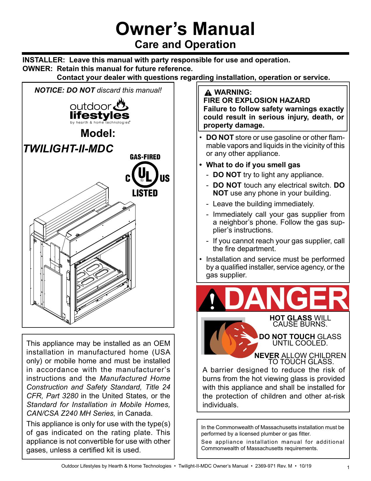 Quadrafire Twilight Modern Gas Fireplace User Manual Manualzz