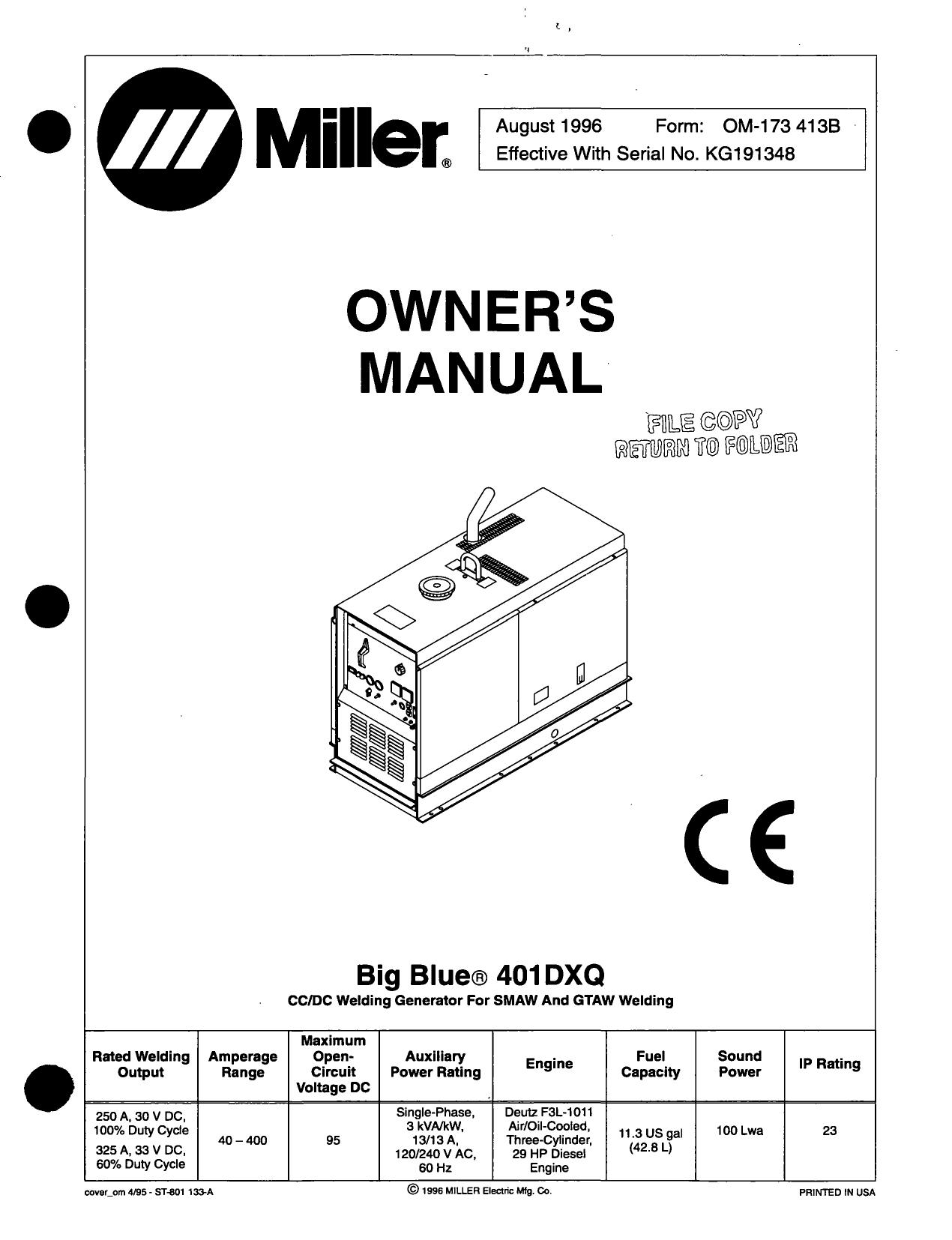 MILLER R-115  SERVICE TECHNICAL MANUAL