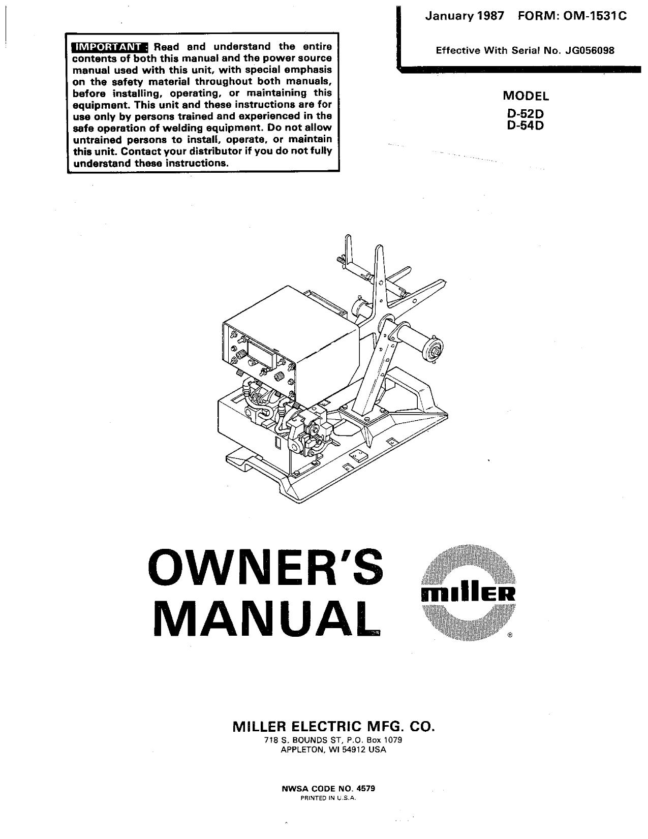 Miller JG40 Owner's manual   Manualzz