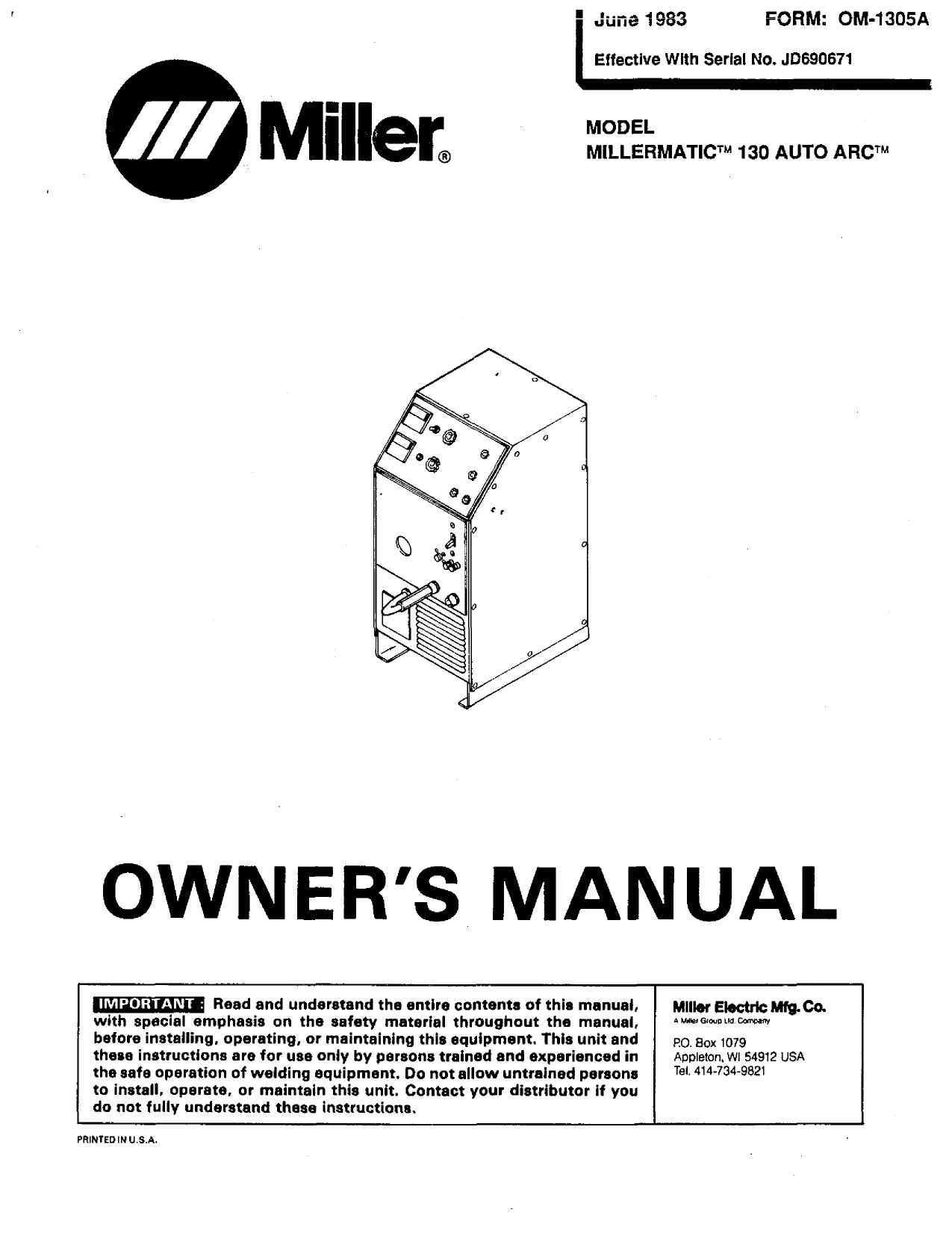 Miller Millermatic 130 Auto Arc User Manual Manualzz