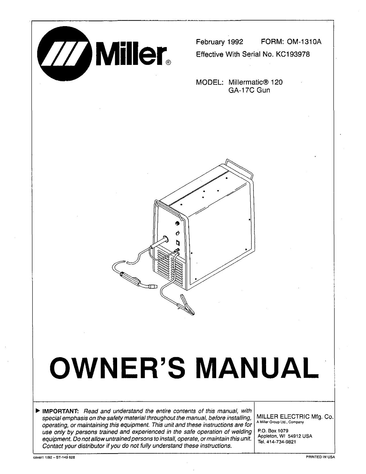 Miller KC40 Owner's manual   Manualzz