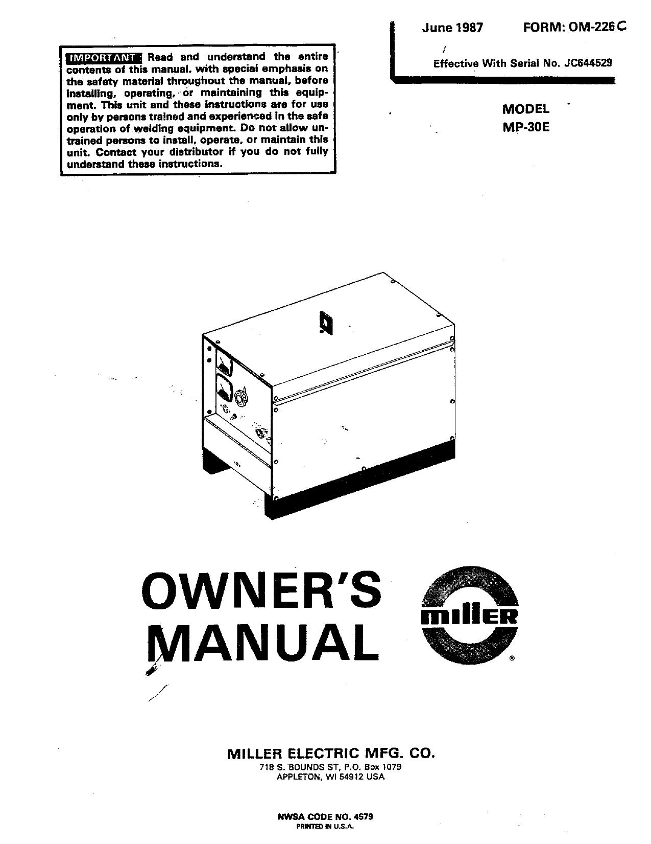 Miller JC40 Owner's manual   Manualzz
