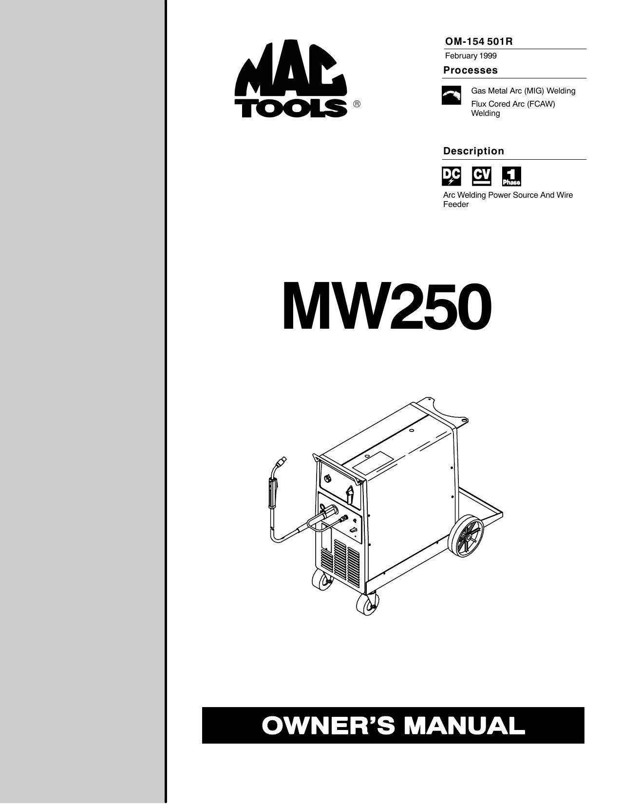 gas arc welder wiring diagram miller mw250 user manual manualzz  miller mw250 user manual manualzz