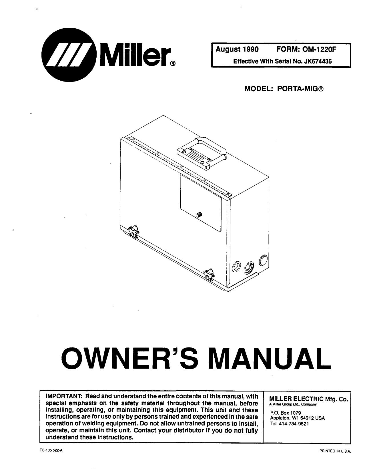 Miller JJ40 Owner's manual   Manualzz