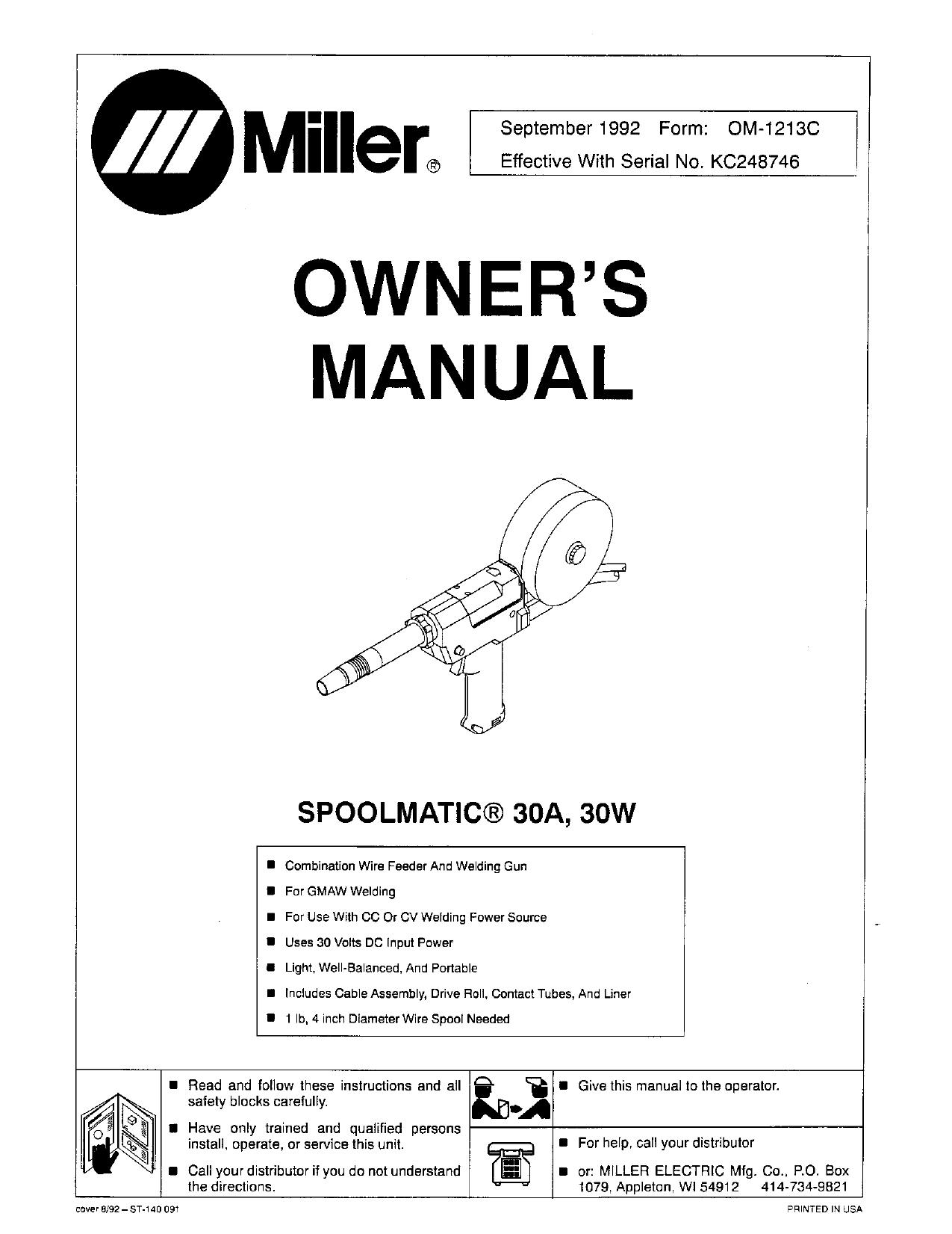 Diagram parts miller spool gun 30a Spoolmatic 30A